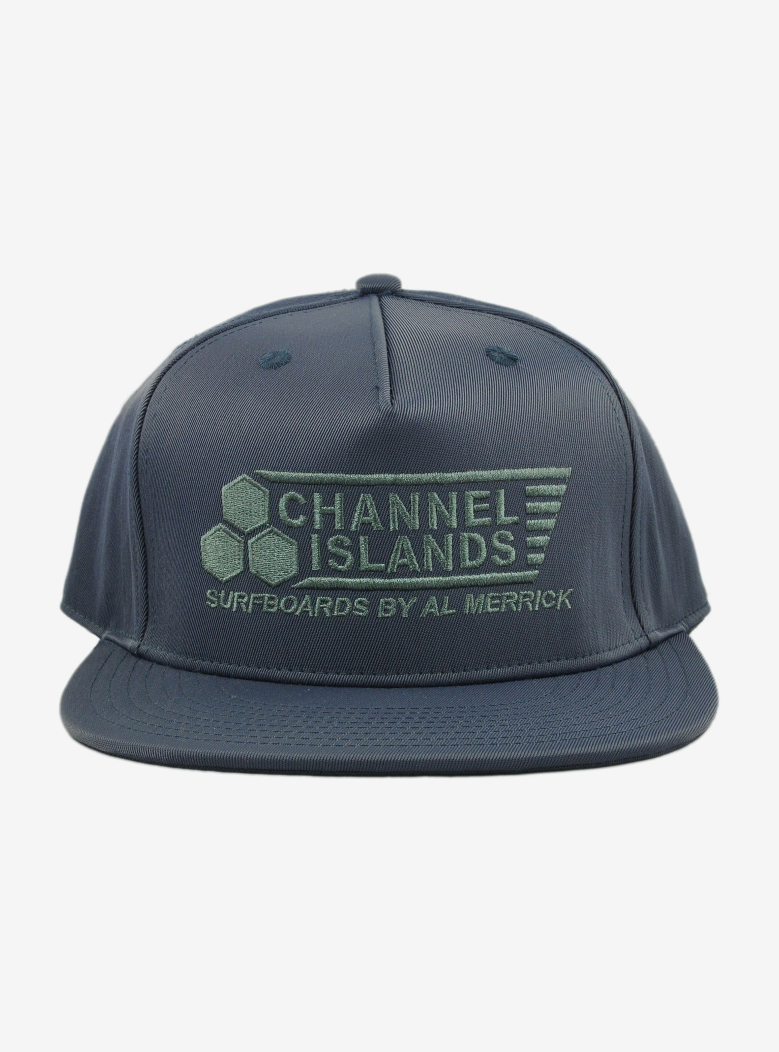 Channel Islands Flag Snapback Hat shown in Indigo