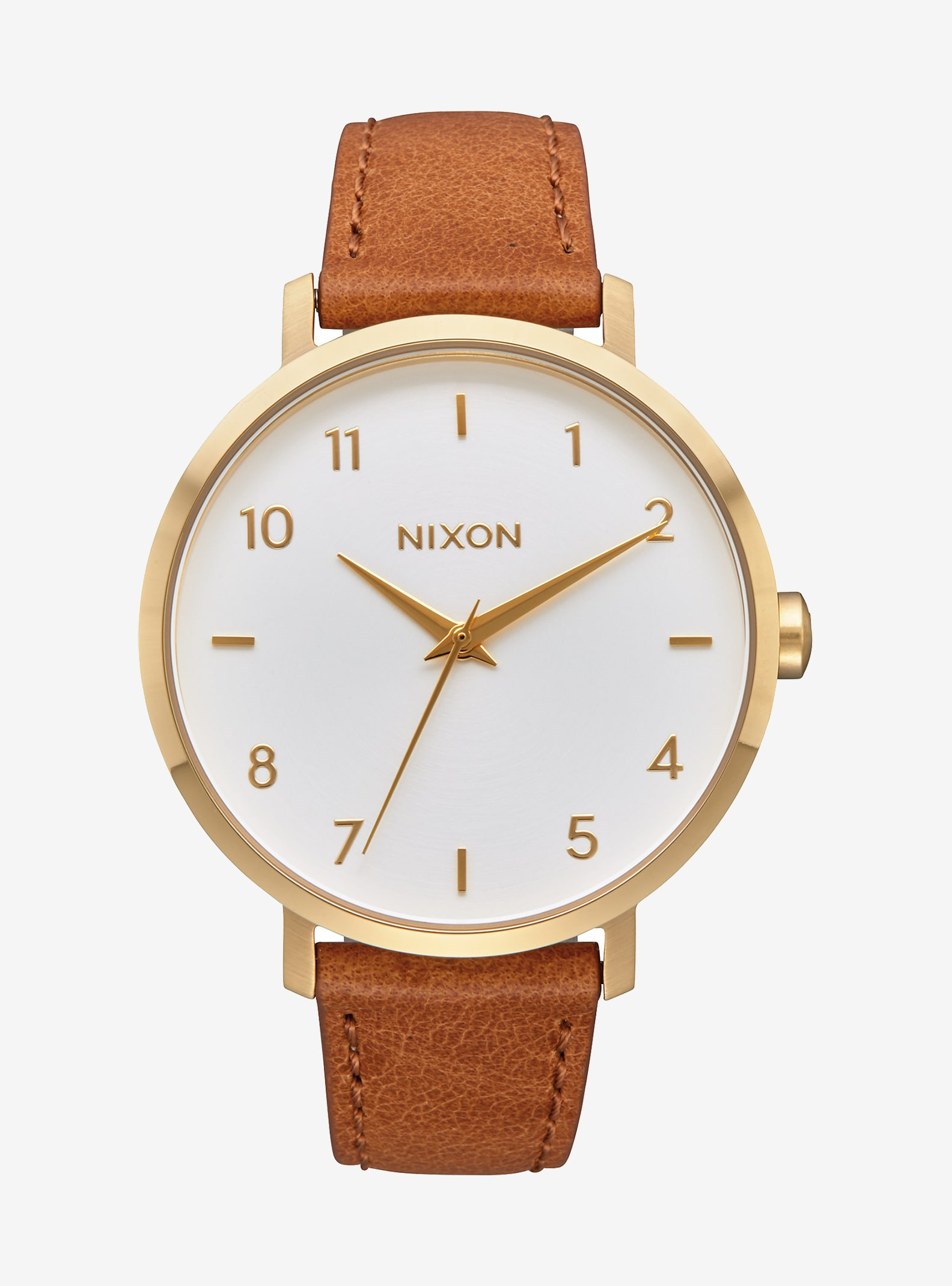 Nixon Arrow Leather Watch shown in Gold / White / Saddle