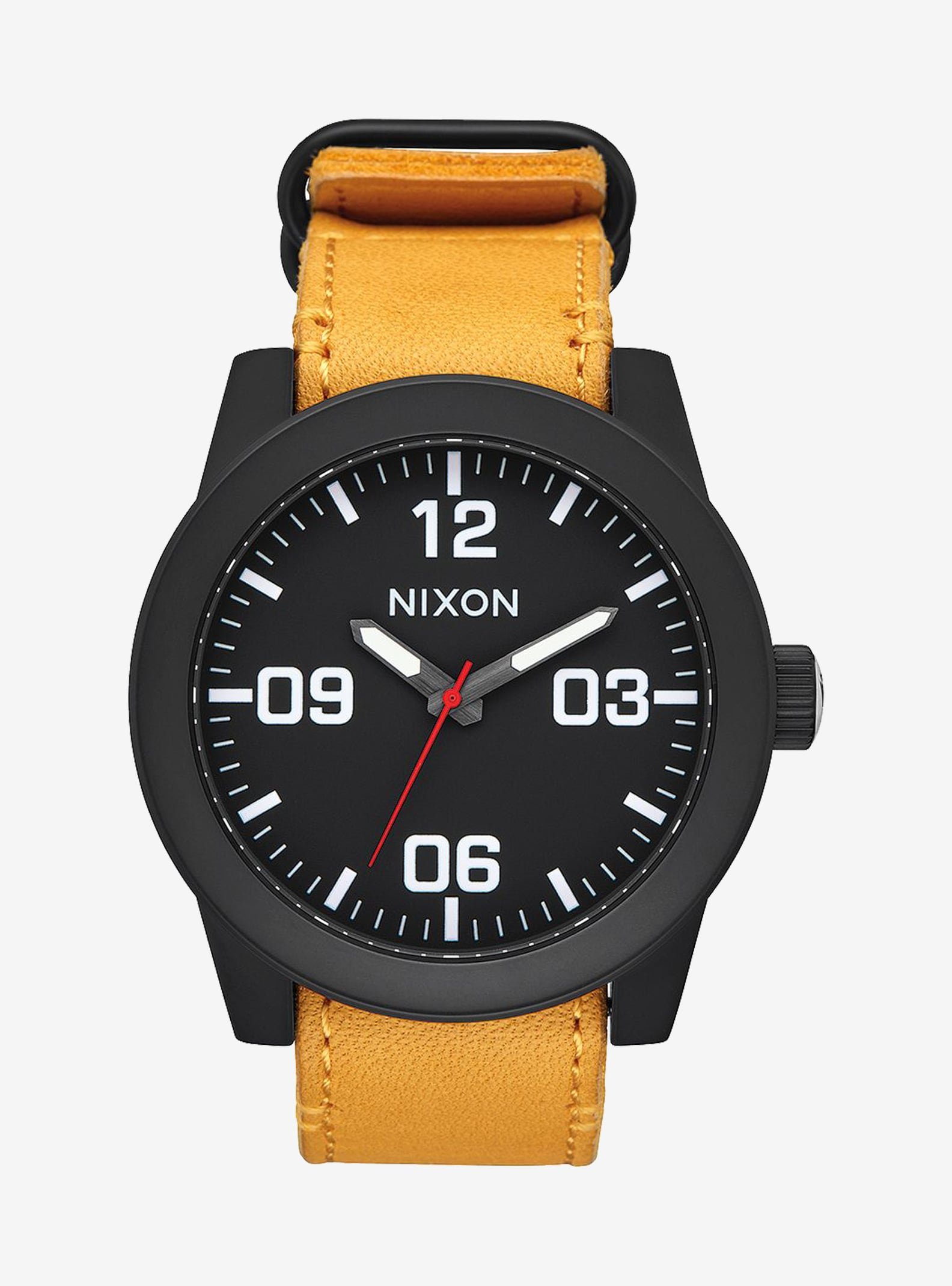 Nixon Corporal Watch shown in Black / Goldenrod