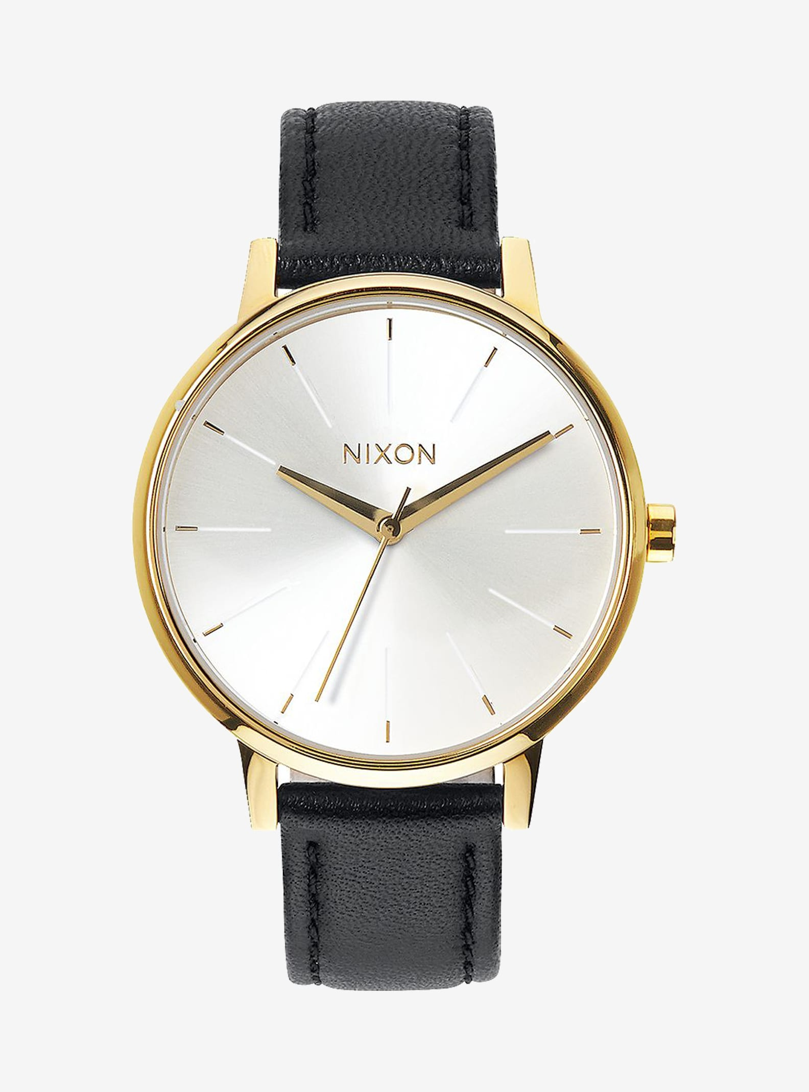 Nixon Kensington Leather Watch shown in Gold / Black / White
