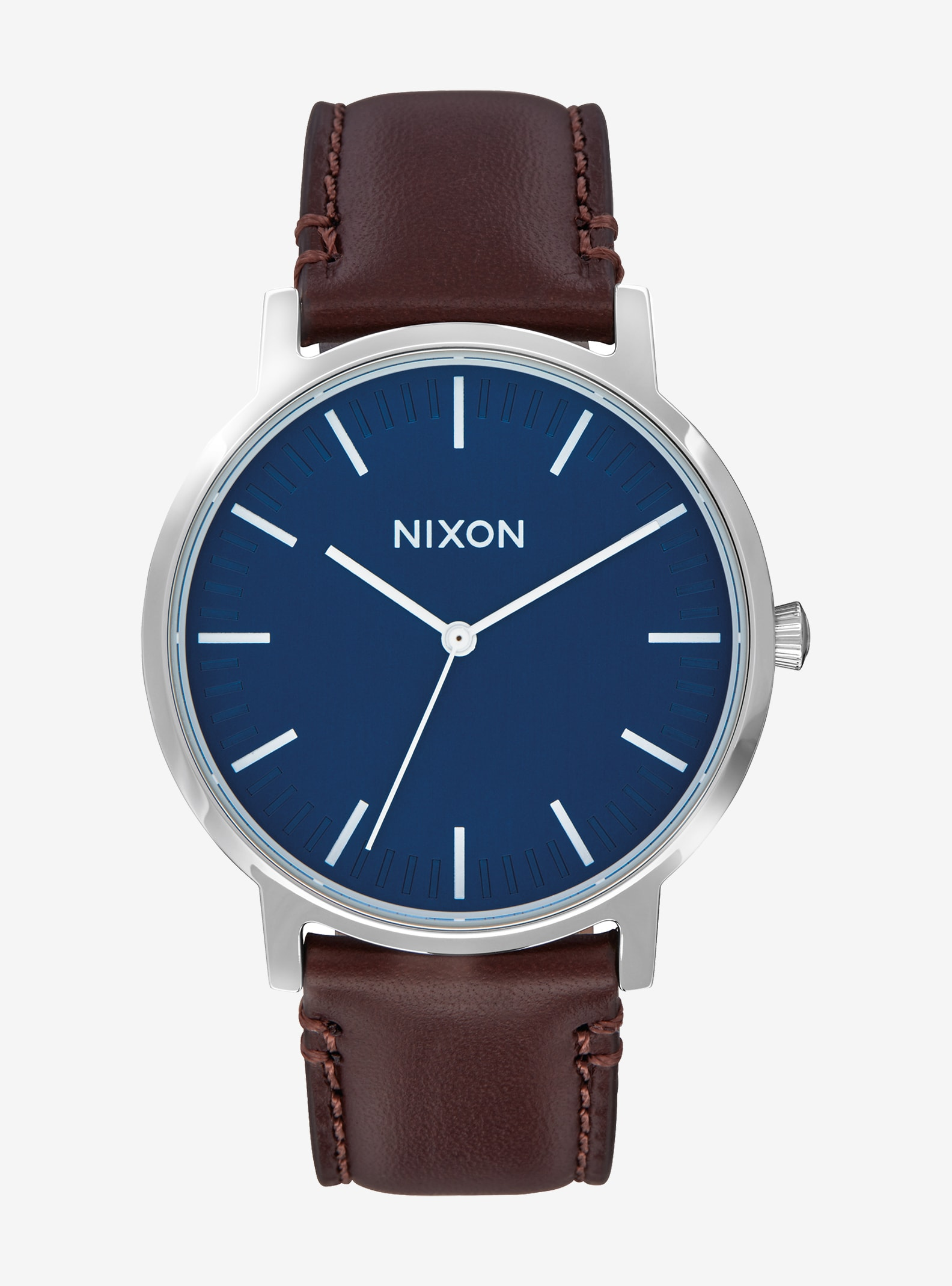 Nixon Porter Leather Watch shown in Navy / Brown