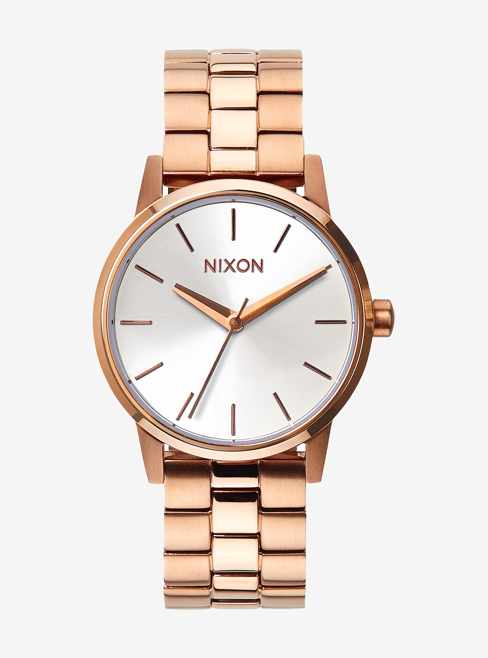 Nixon Small Kensington Watch shown in Rose Gold / White