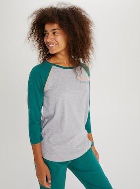 Women's Burton Caratunk Raglan Sleeve T-Shirt shown in Gray Heather / Antique Green