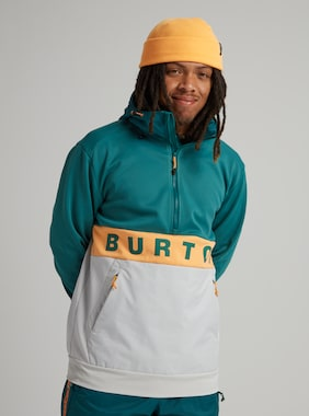 Men's Burton Crown Bonded Performance Fleece Pullover shown in Antique Green / Papaya