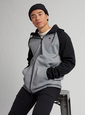 Men's Burton Crown Weatherproof Full-Zip Fleece shown in Gray Heather / True Black