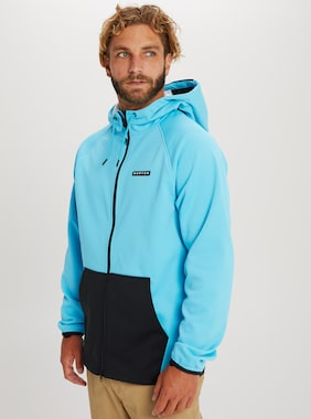 Men's Burton Crown Weatherproof Full-Zip Fleece shown in Cyan / True Black