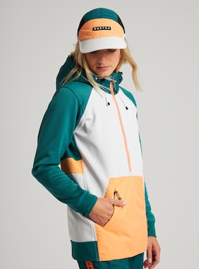 Women's Burton Crown Weatherproof Performance Pullover Hoodie shown in Antique Green / Lunar Gray / Papaya