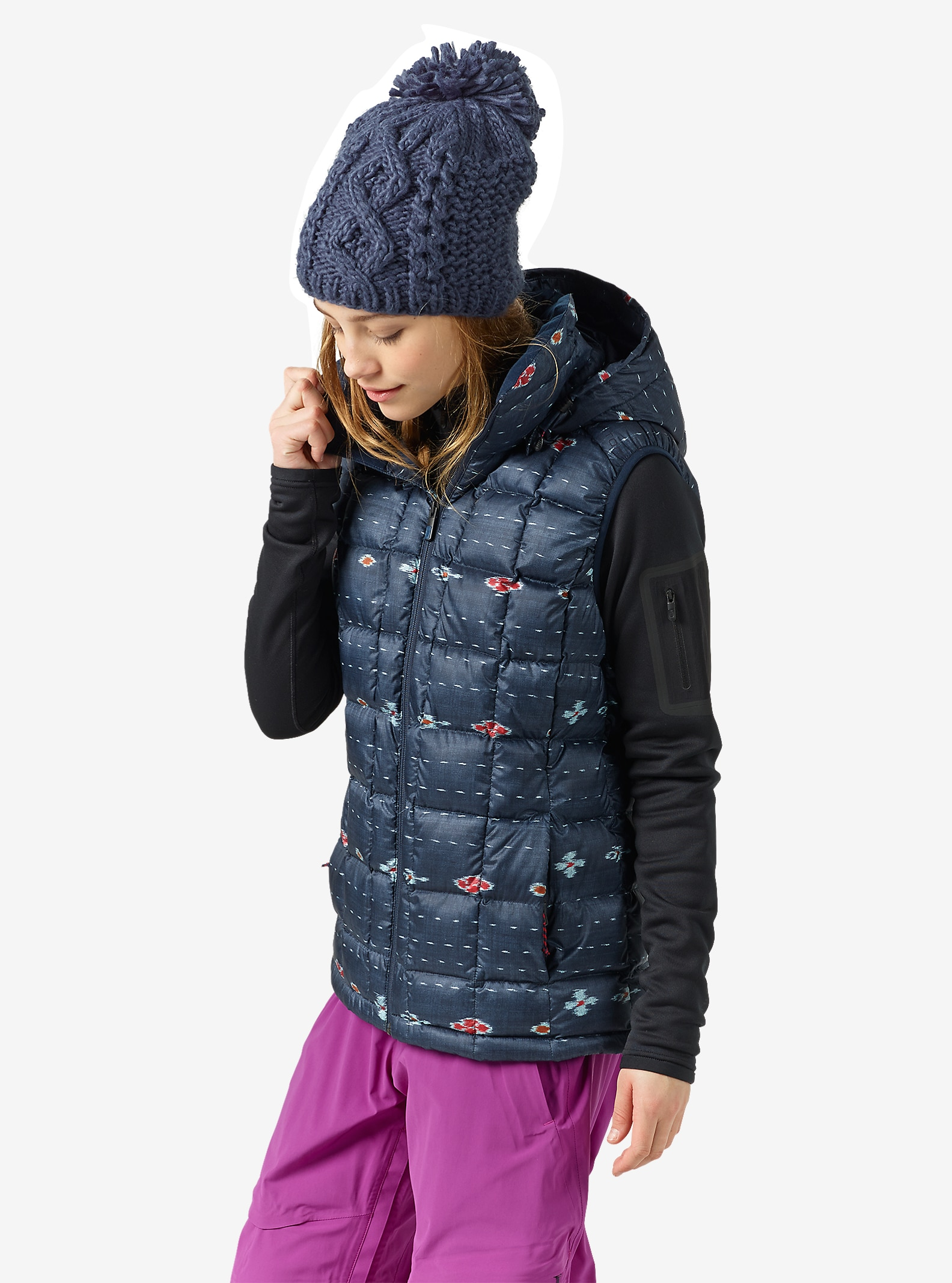 Burton [ak] Squall Down Insulator Vest shown in Floral Ikat Stripe