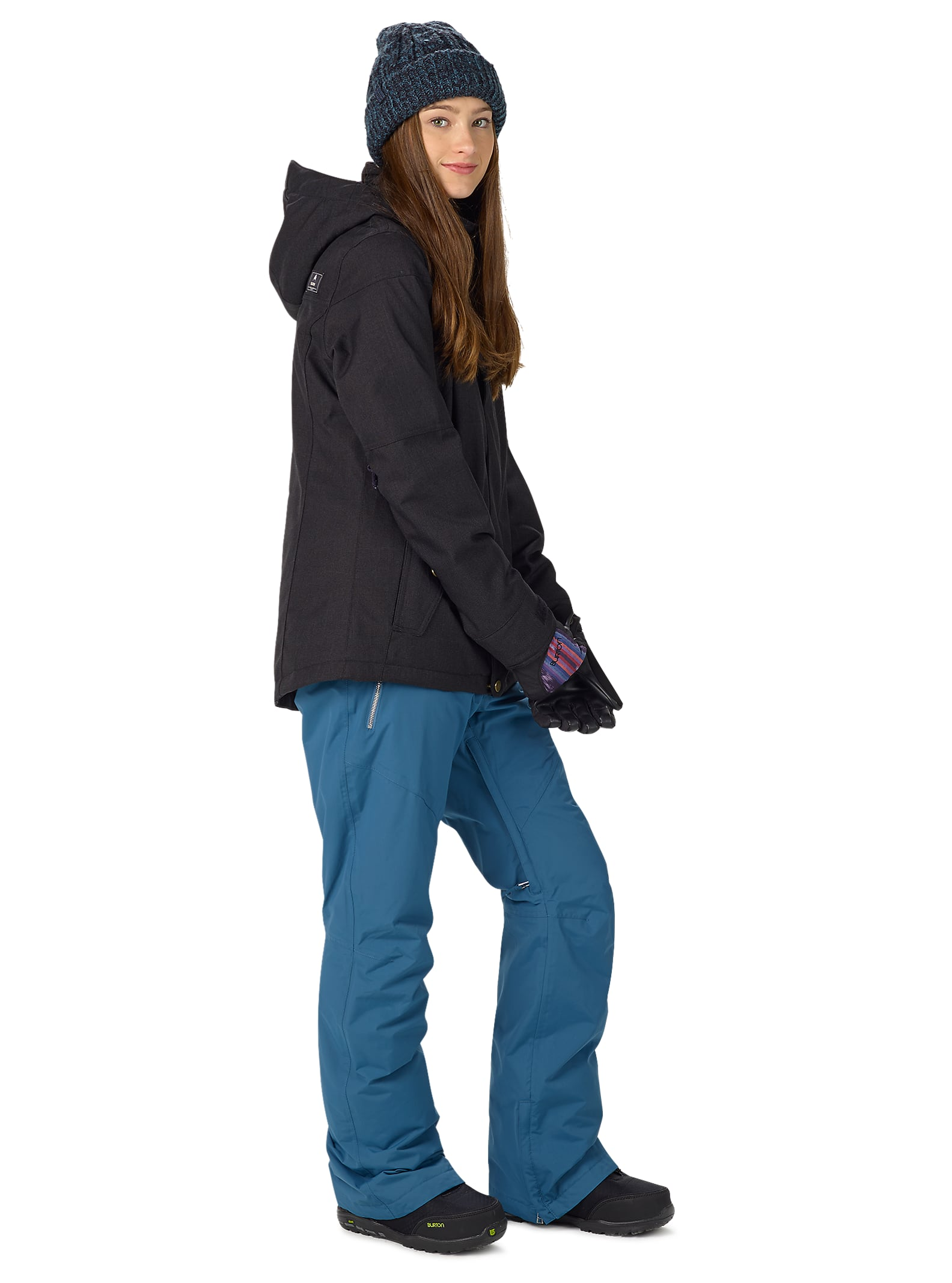 Burton Jet Set Jacket Snowboards Winter 16 Jeans Pant Woman 7 9 Mocca