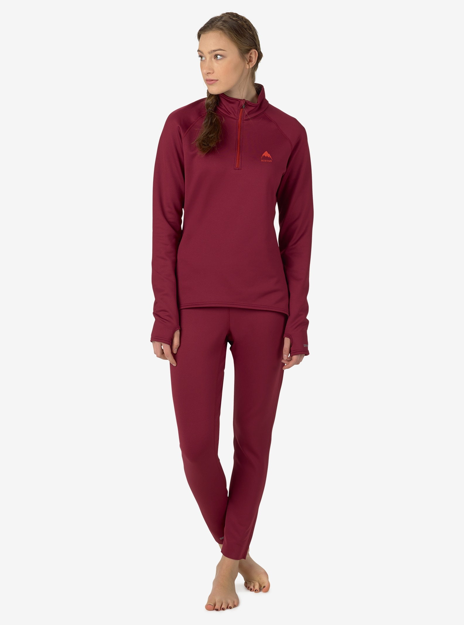 Burton Women's Expedition 1/4 Zip Base Layer shown in Sangria