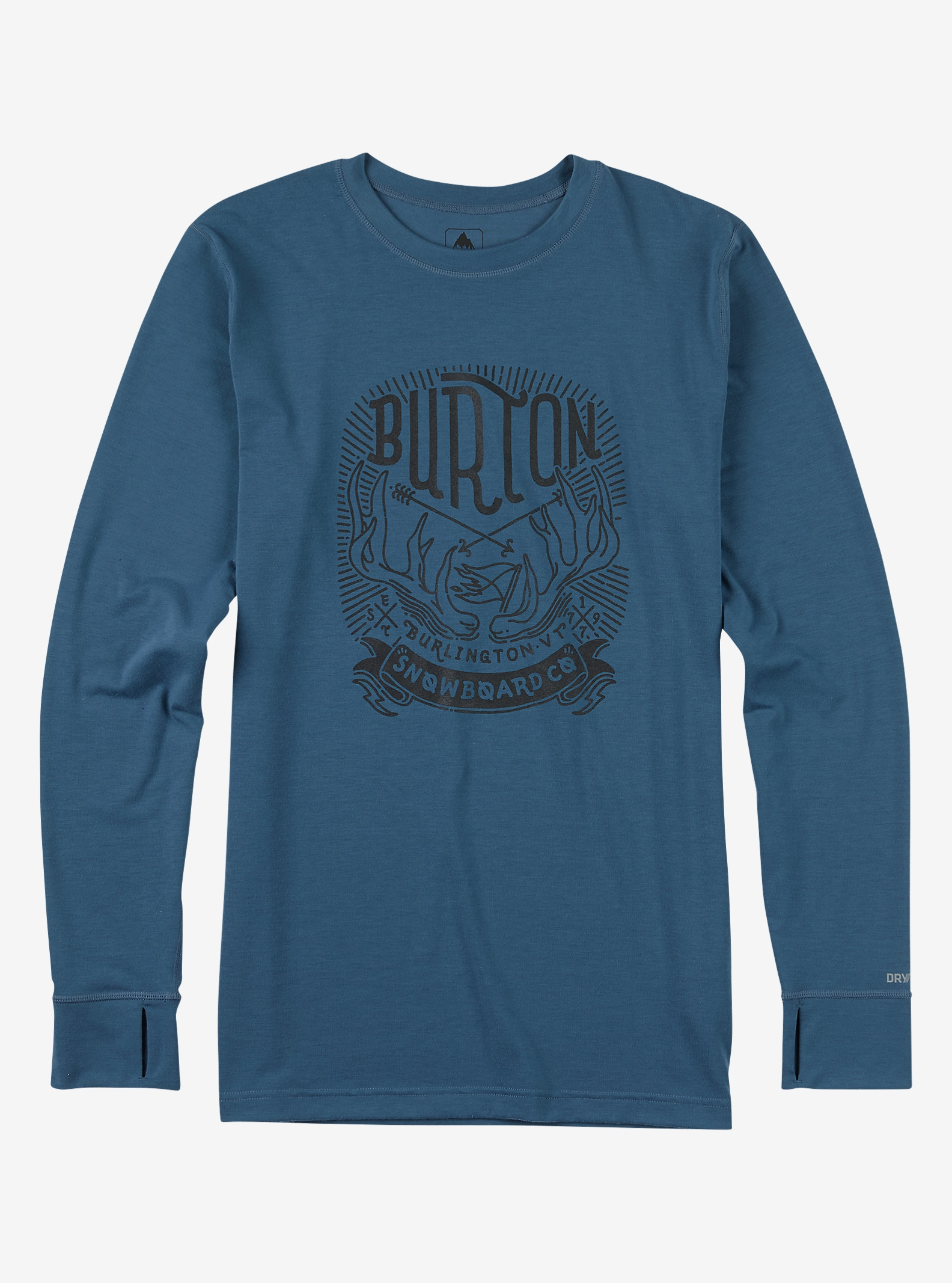 Burton Midweight Base Layer Crew shown in Washed Blue