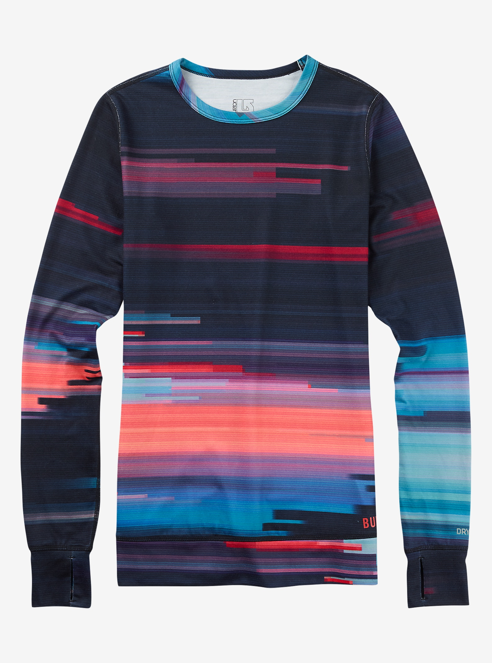 Burton Women's Base Layer Midweight Crew shown in Coral Flynn Glitch