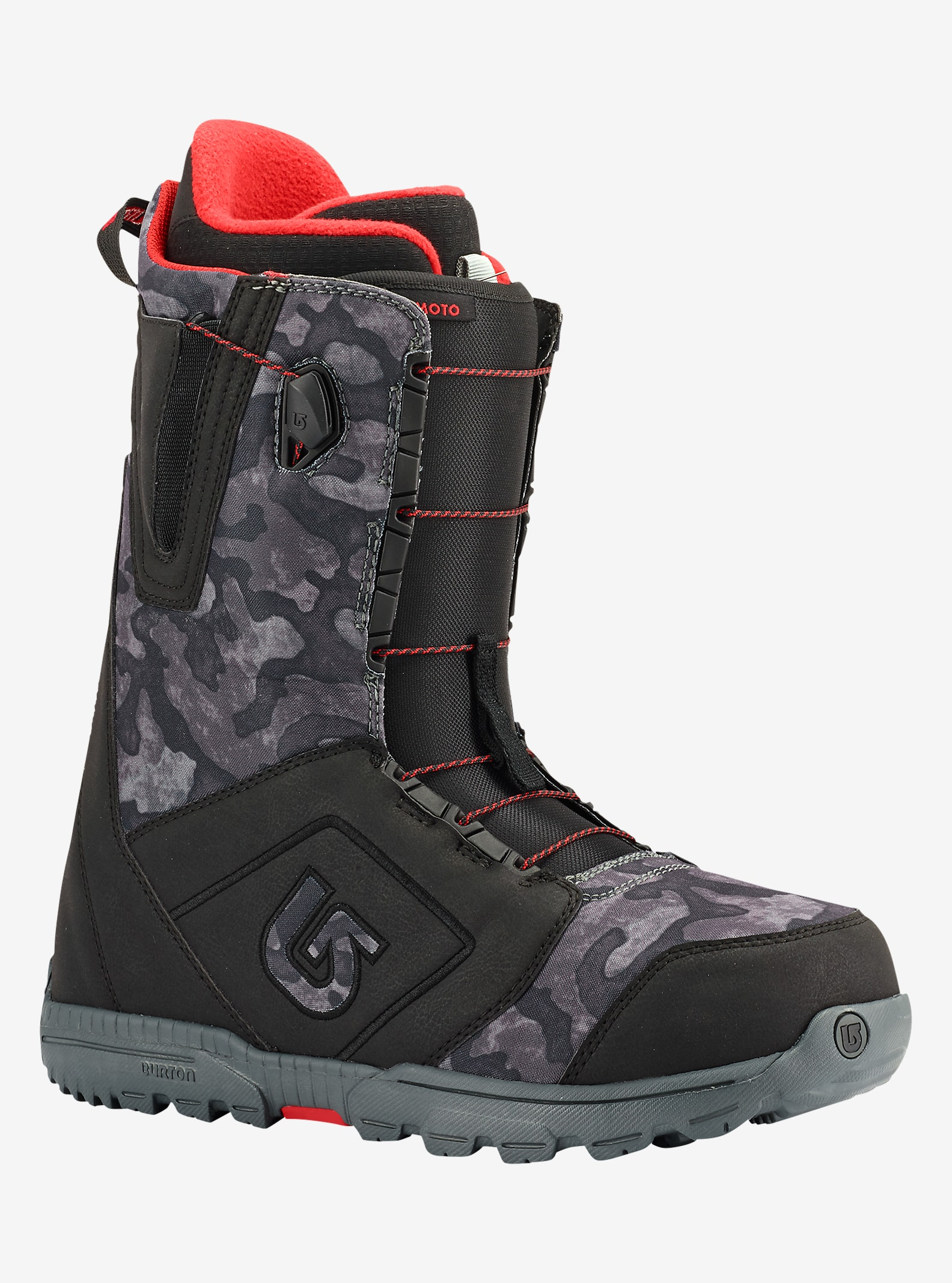 Burton Moto Snowboard Boot shown in Black / Camo