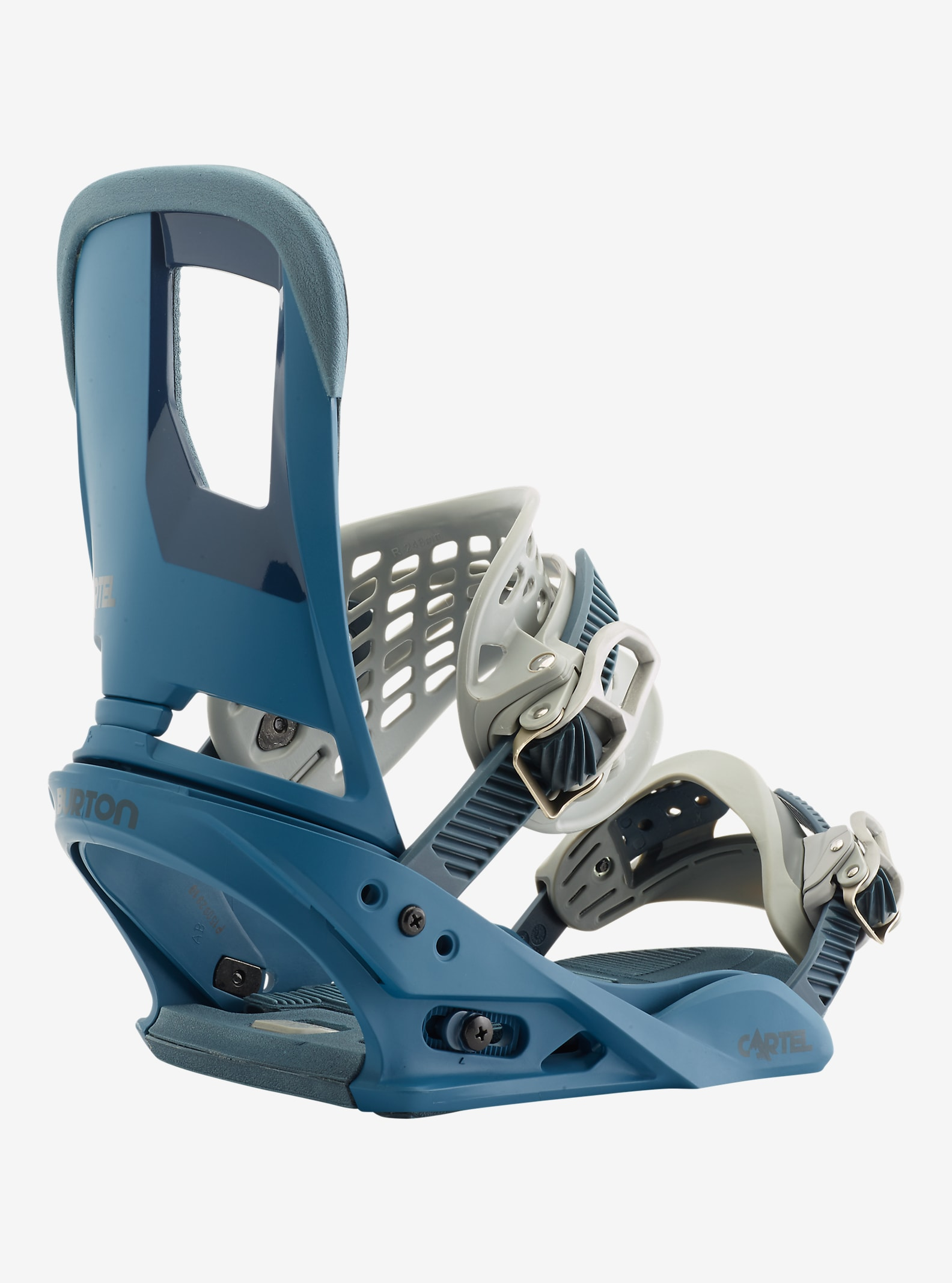 Burton Cartel Snowboard Binding shown in Steel Blue