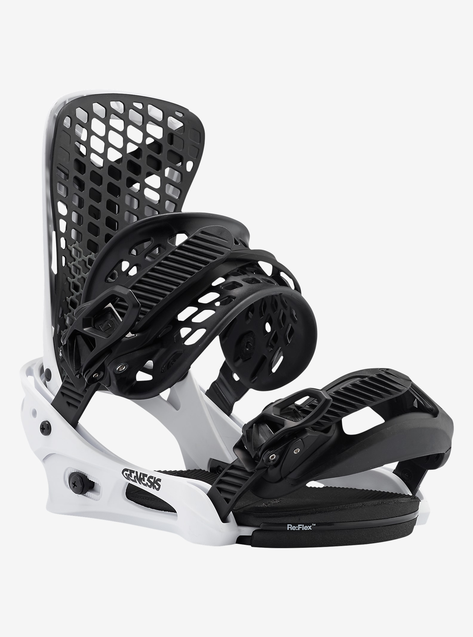 Burton Genesis Snowboard Binding shown in White Flag