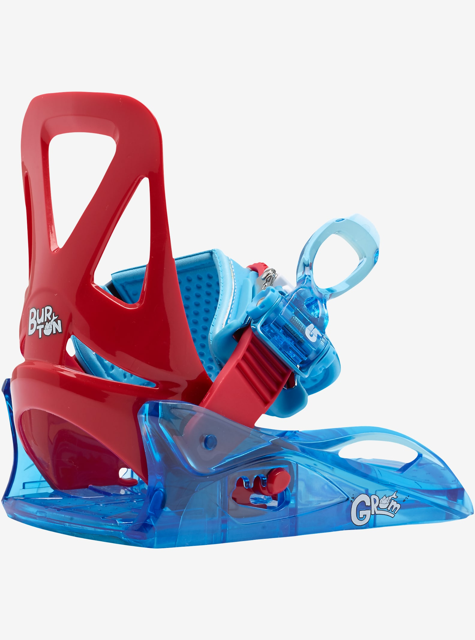 Burton Grom Snowboard Binding shown in Red / Blue