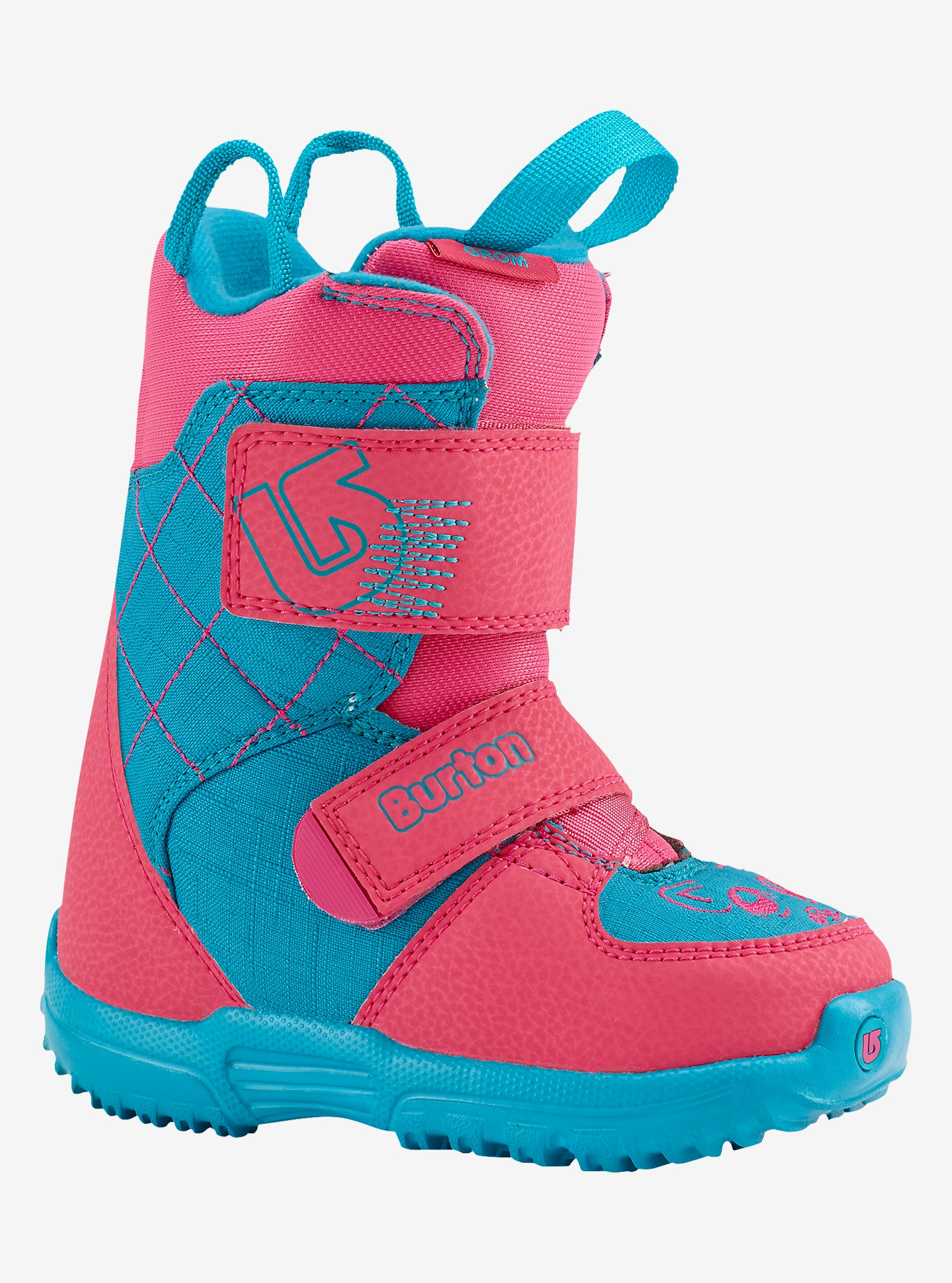 Burton Mini-Grom Snowboard Boot shown in Pink / Teal