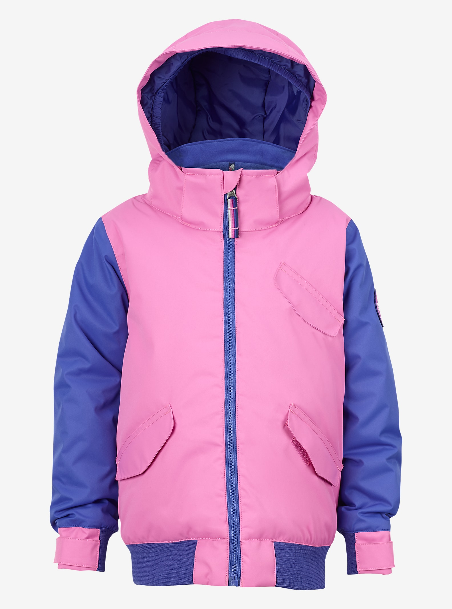 Burton Girls' Minishred Twist Bomber Jacket shown in Super Pink / Sorcerer