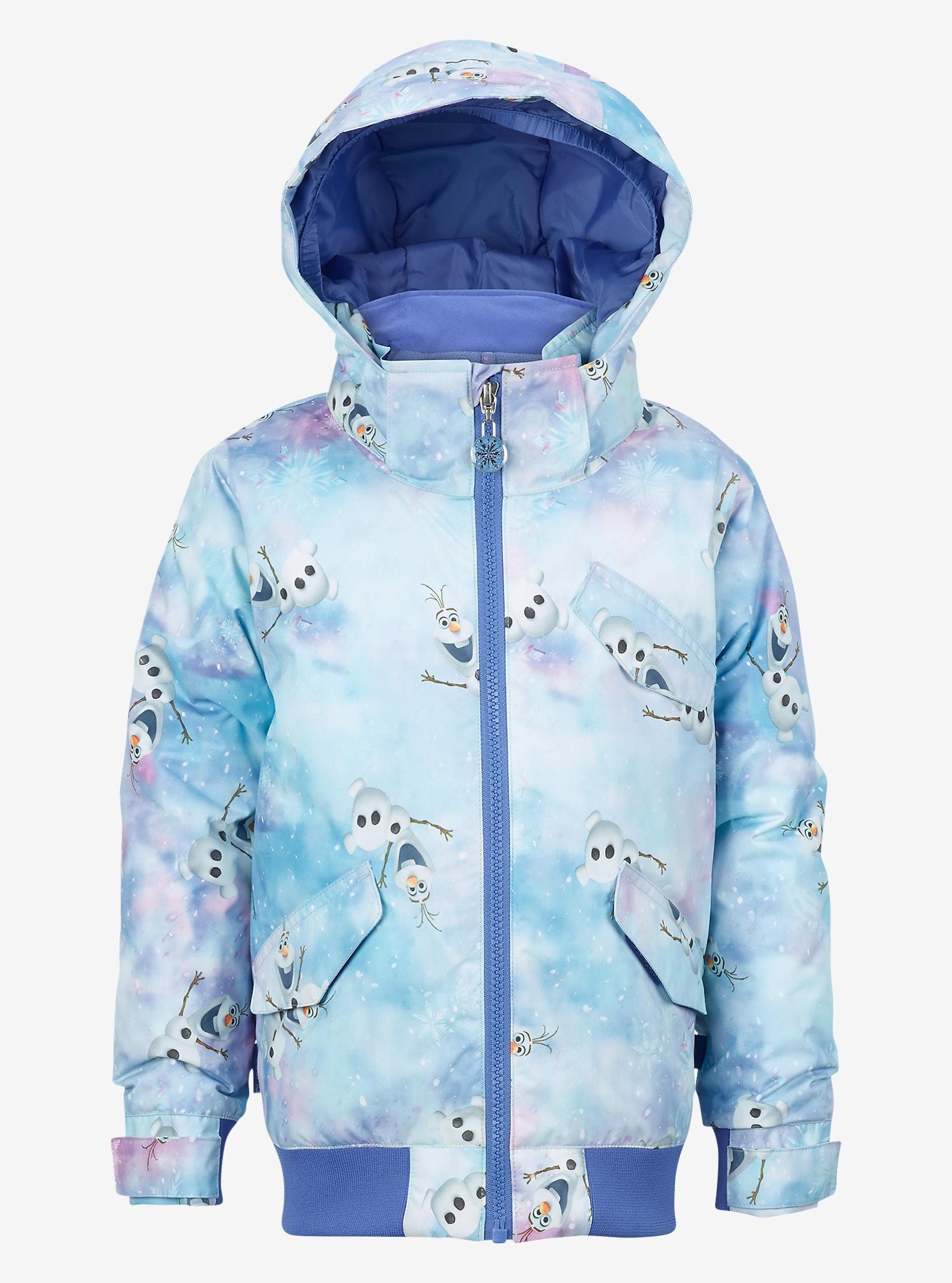 Disney Frozen Girls' Minishred Twist Bomber Jacket shown in Olaf Frozen Print © Disney