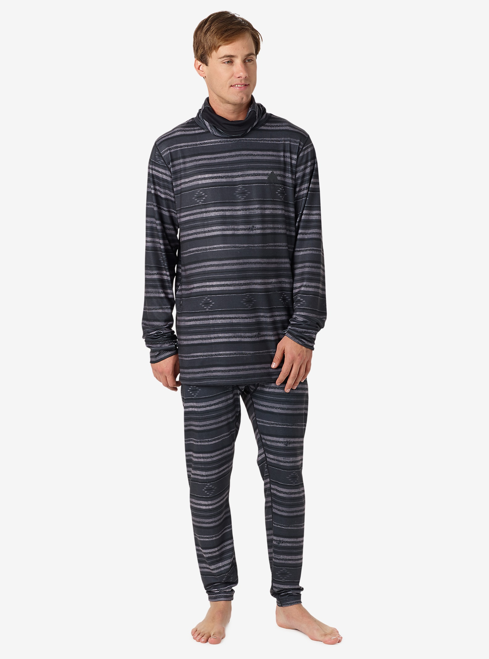 Burton Midweight Base Layer Long Neck shown in Faded Stag Stripe