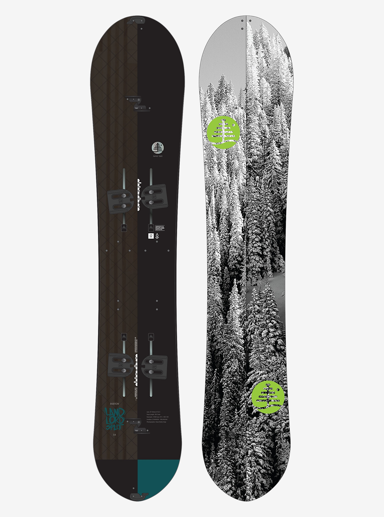 Burton Family Tree Landlord Split Snowboard shown in 154