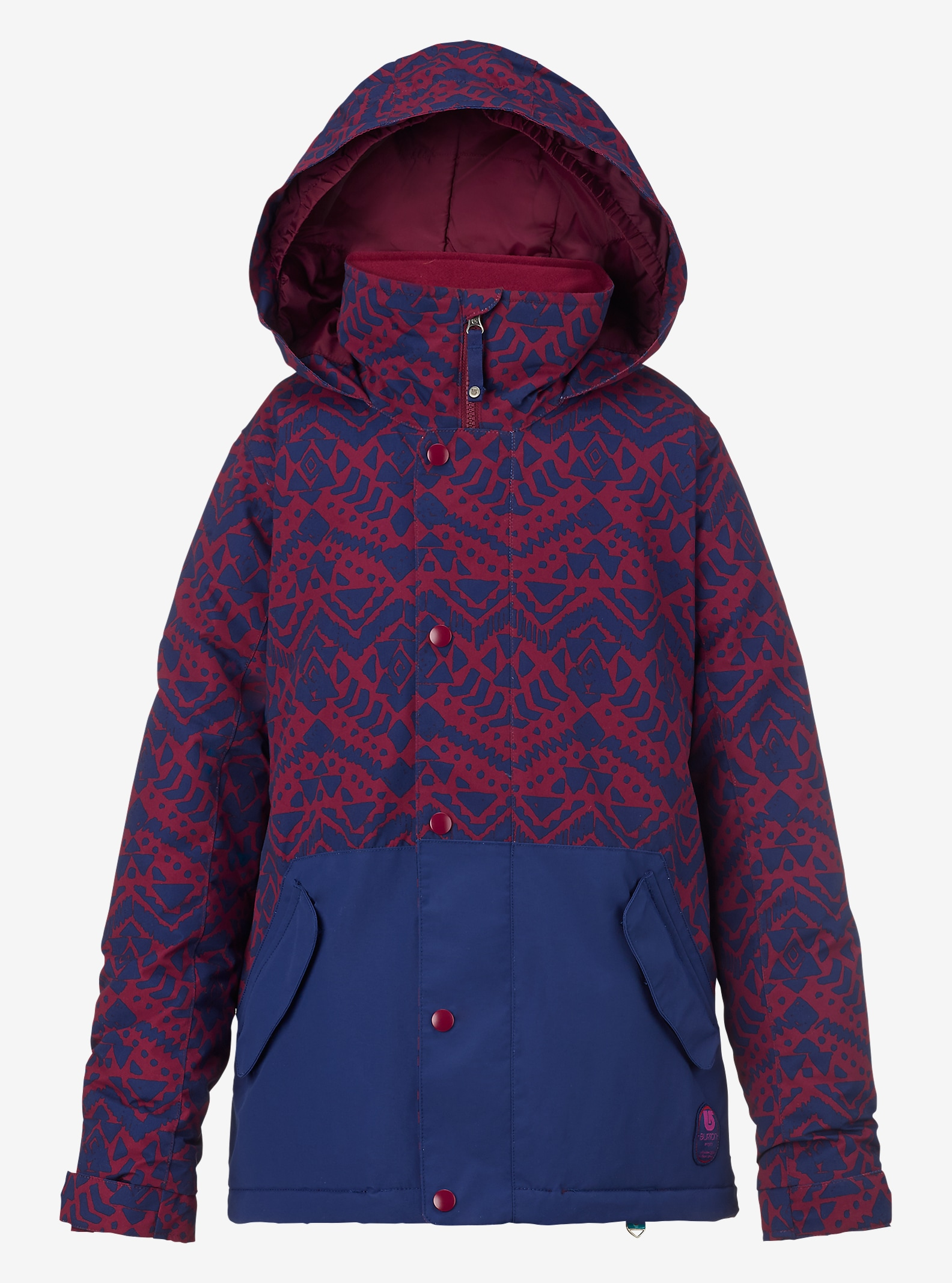 Burton Girls' Echo Jacket shown in Sangria Wallaby Stamp / Spellbound
