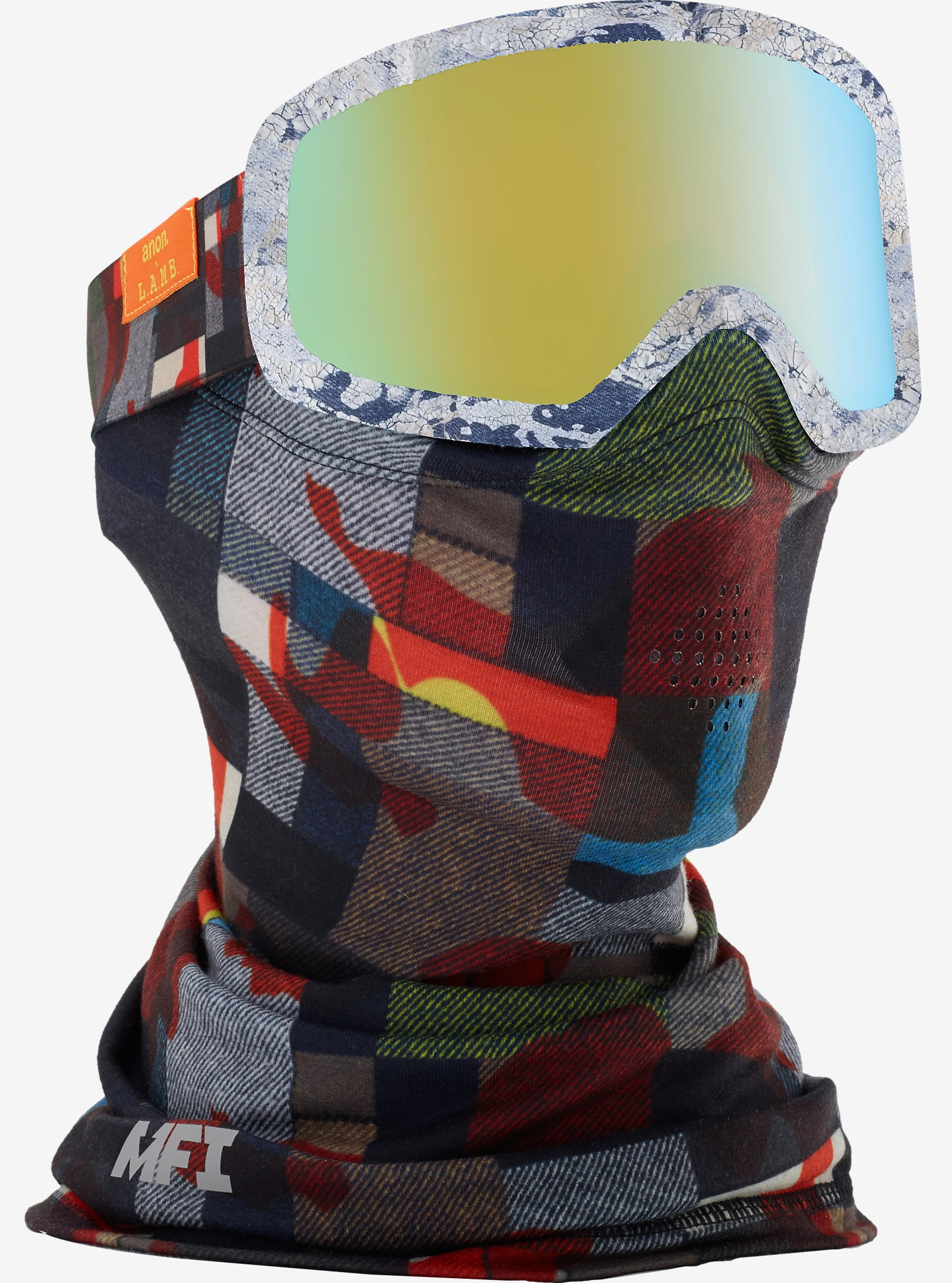 L.A.M.B. x anon. Deringer MFI Goggle shown in Frame: L.A.M.B, Lens: Gold Chrome