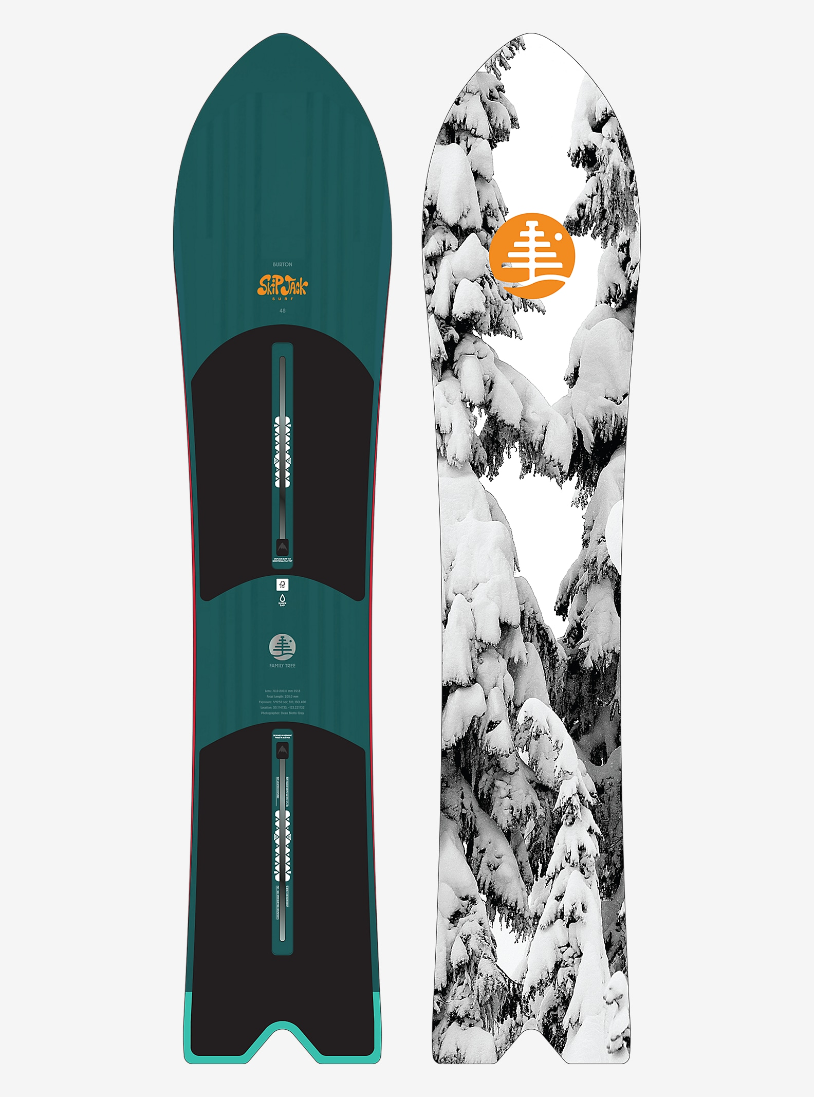 Burton Family Tree SkipJack Surf Snowboard shown in 148