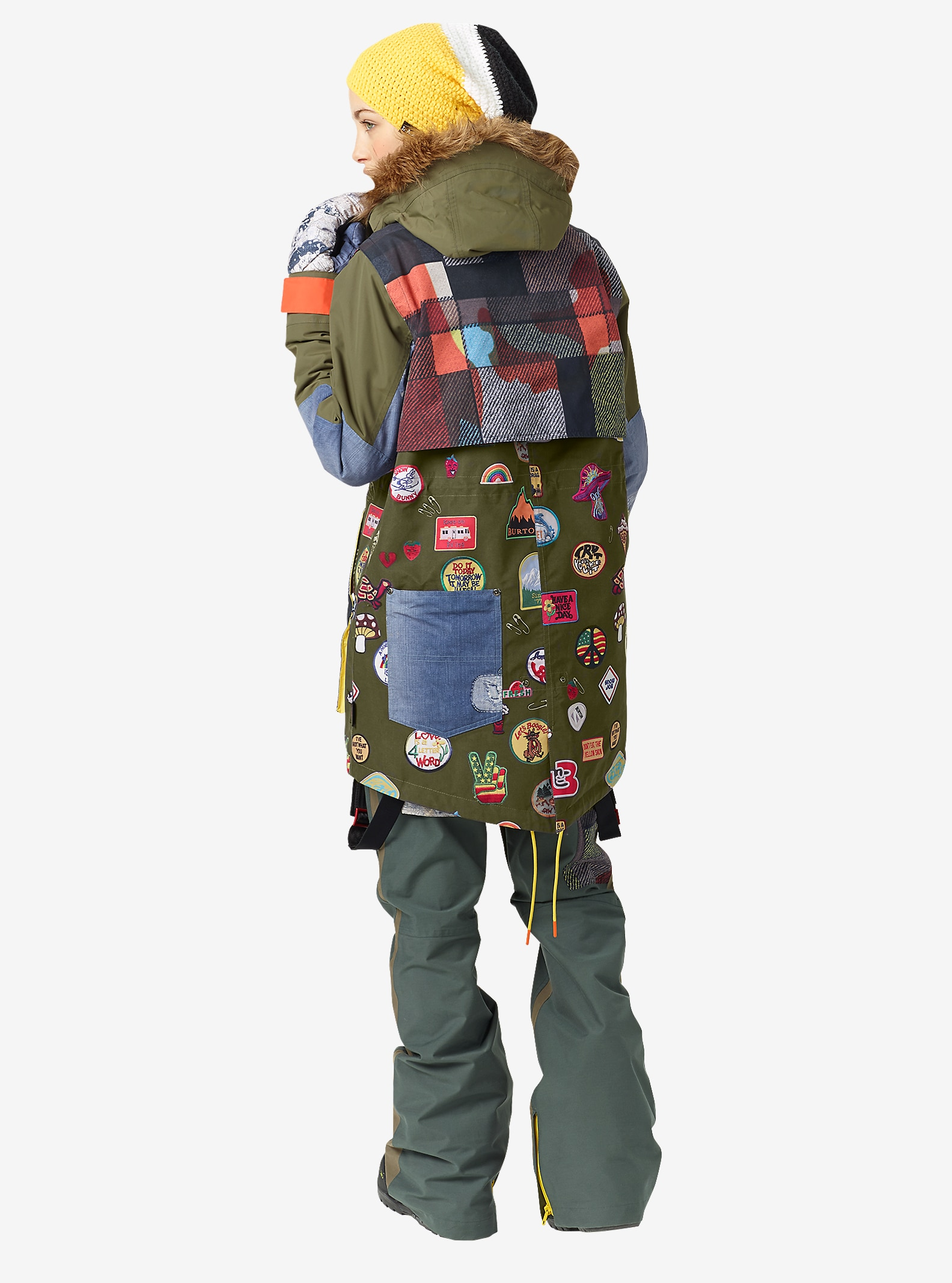 L.A.M.B. x Burton Riff Parka shown in Camp Patches