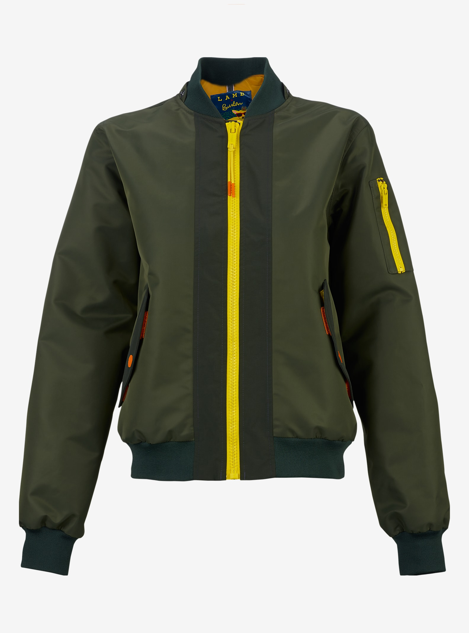 L.A.M.B. x Burton Cherry Bomberjacke angezeigt in Dusty Olive / Army Green