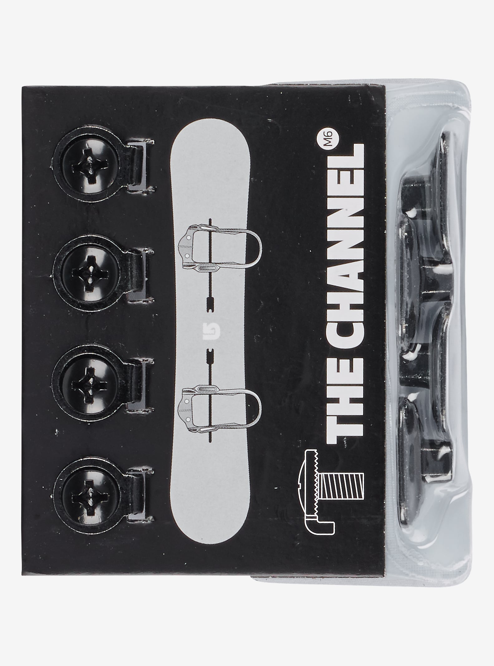 Burton M6 Channel Replacement Hardware shown in Black