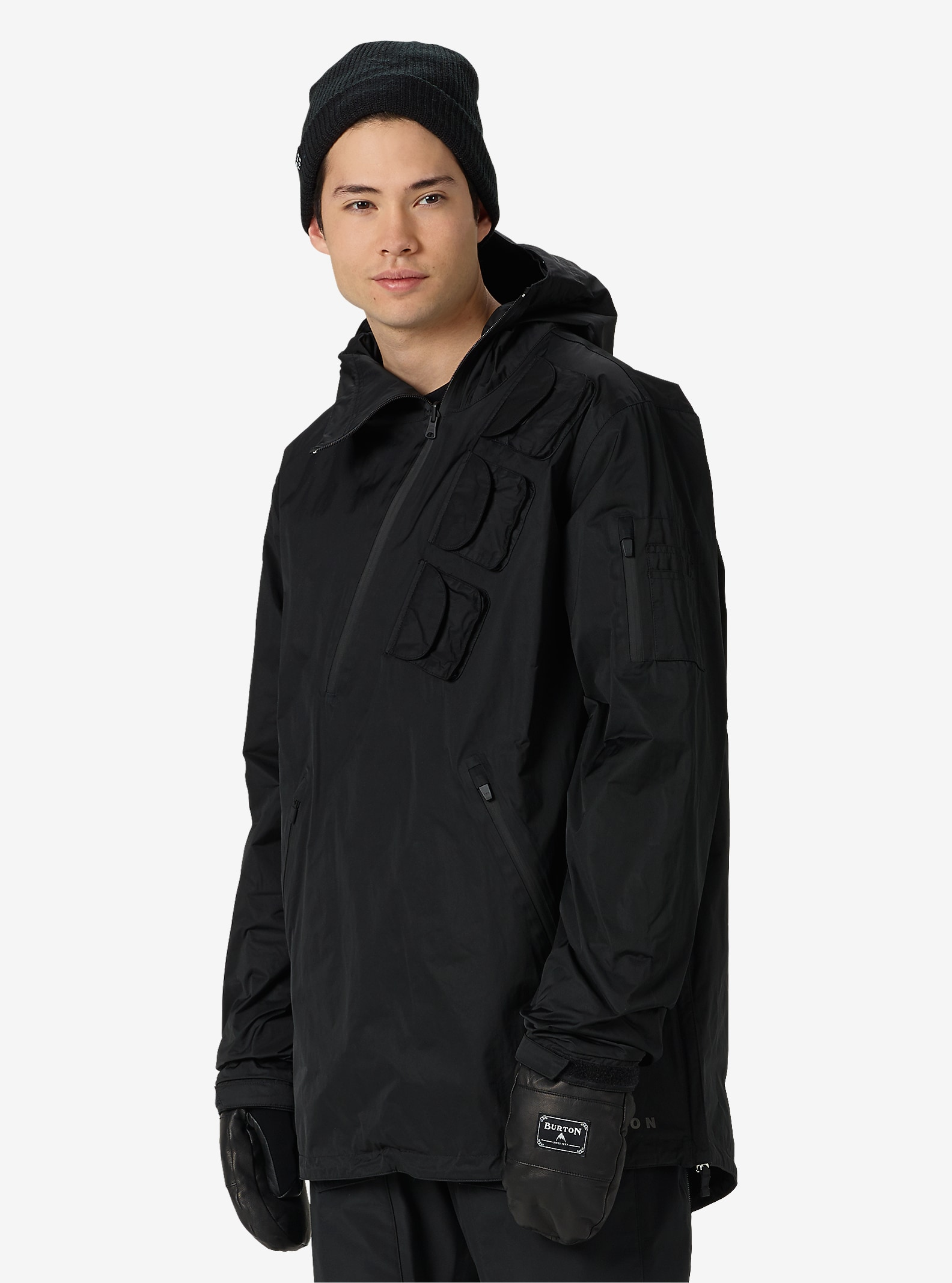 Black Scale x Burton Raid Reversible Anorak Jacket shown in Black Scale Black / Big Tiger