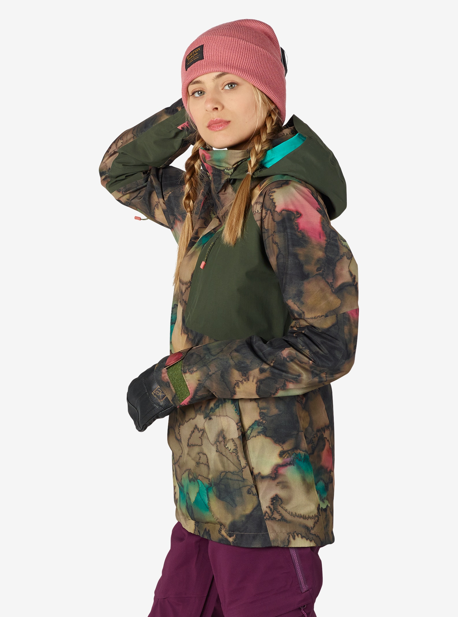 Women's Burton [ak] GORE‑TEX® 2L Embark Jacket shown in Tea Camo / Forest Night
