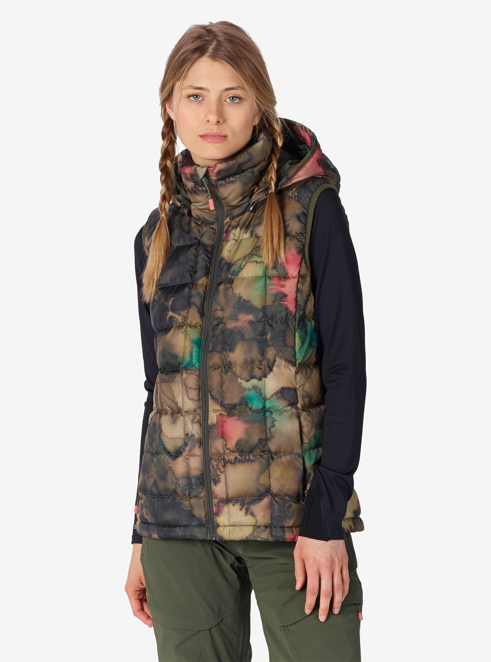 Women's Burton [ak] Squall Down Insulator Vest shown in Tea Camo