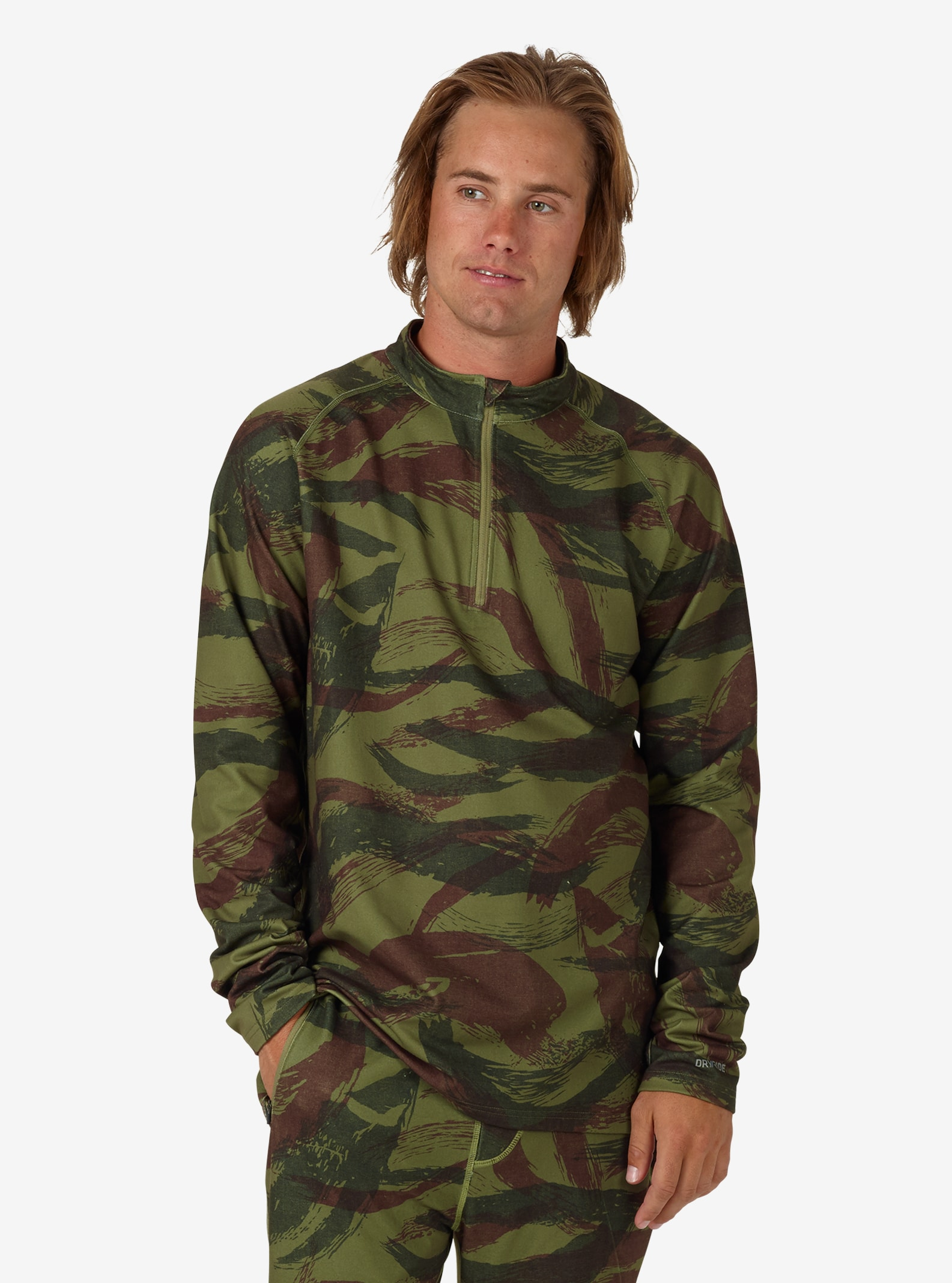 Men's Burton Expedition 1/4 Zip Base Layer shown in Brush Camo