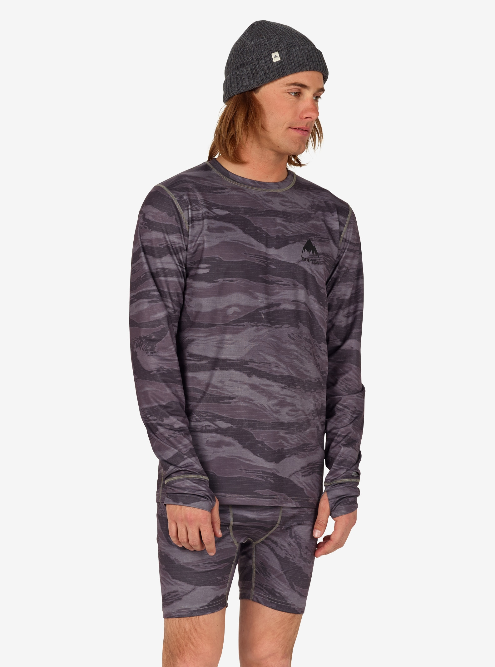 Men's Burton Lightweight Base Layer Crew shown in Faded Worn Tiger