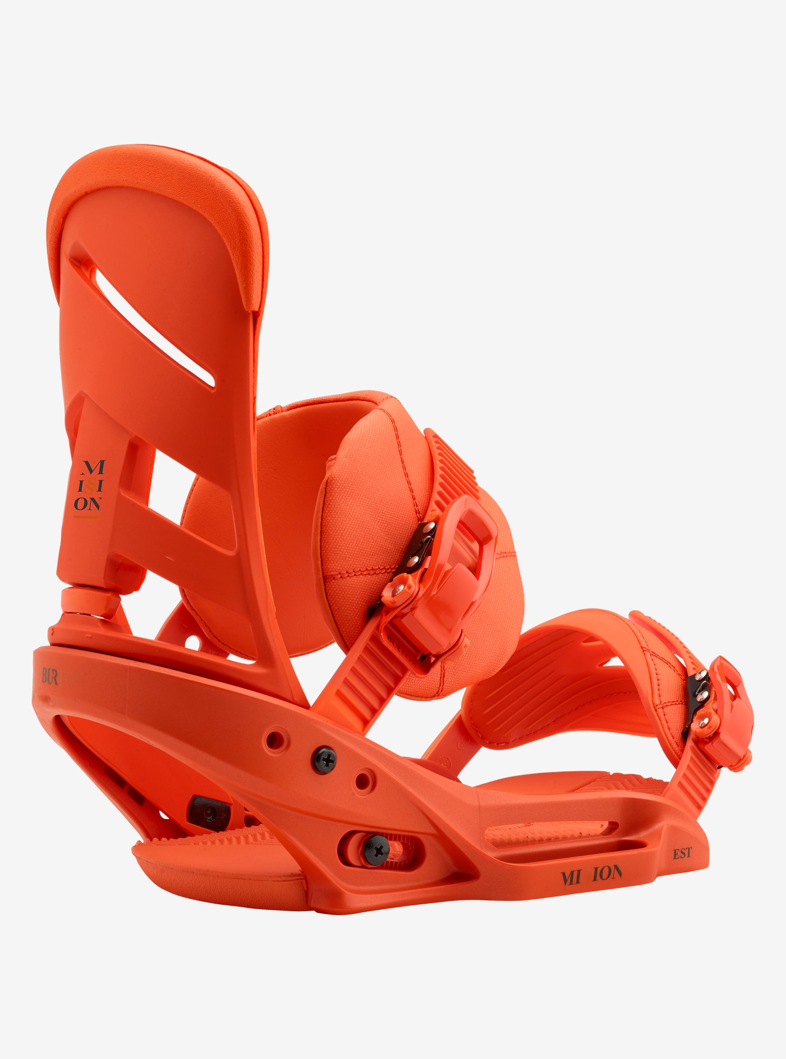 Men's Burton Mission EST Snowboard Binding shown in Orang Sick Le