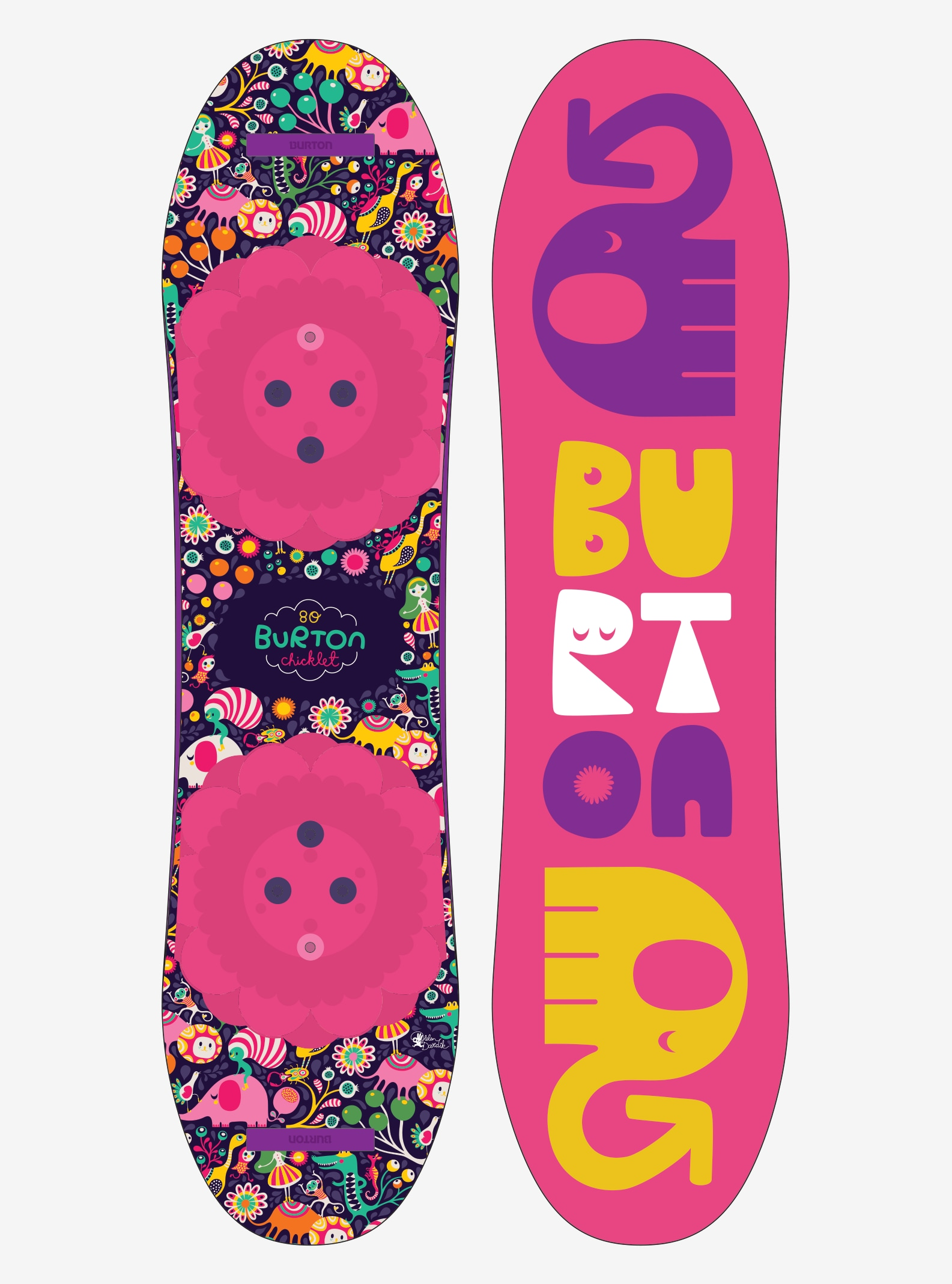 Girls' Burton Chicklet Snowboard shown in 80
