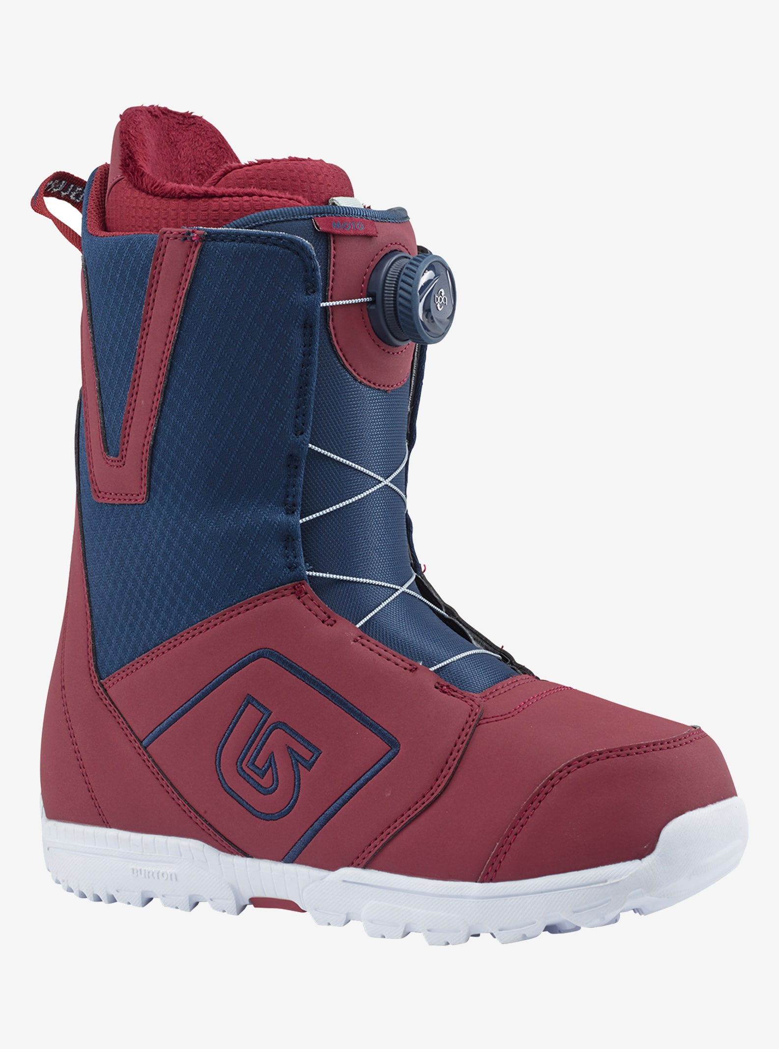 Men's Burton Moto Boa® Snowboard Boot shown in Maroon / Blue