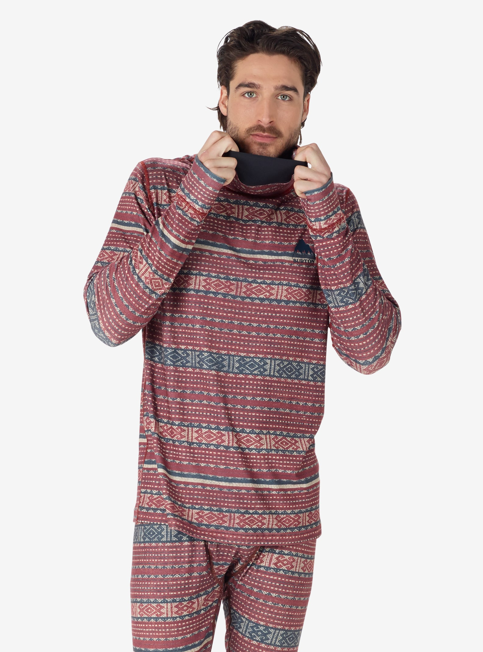 Men's Burton Midweight Base Layer Long Neck shown in Fired Brick Tanimbar