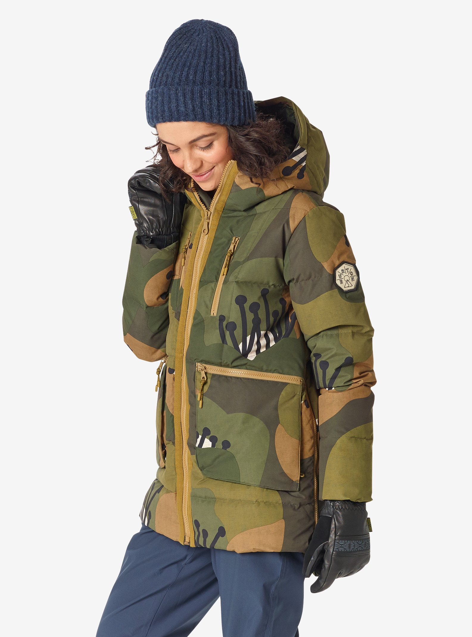 Women's Burton King Pine Down Jacket shown in Forest Poppyfield