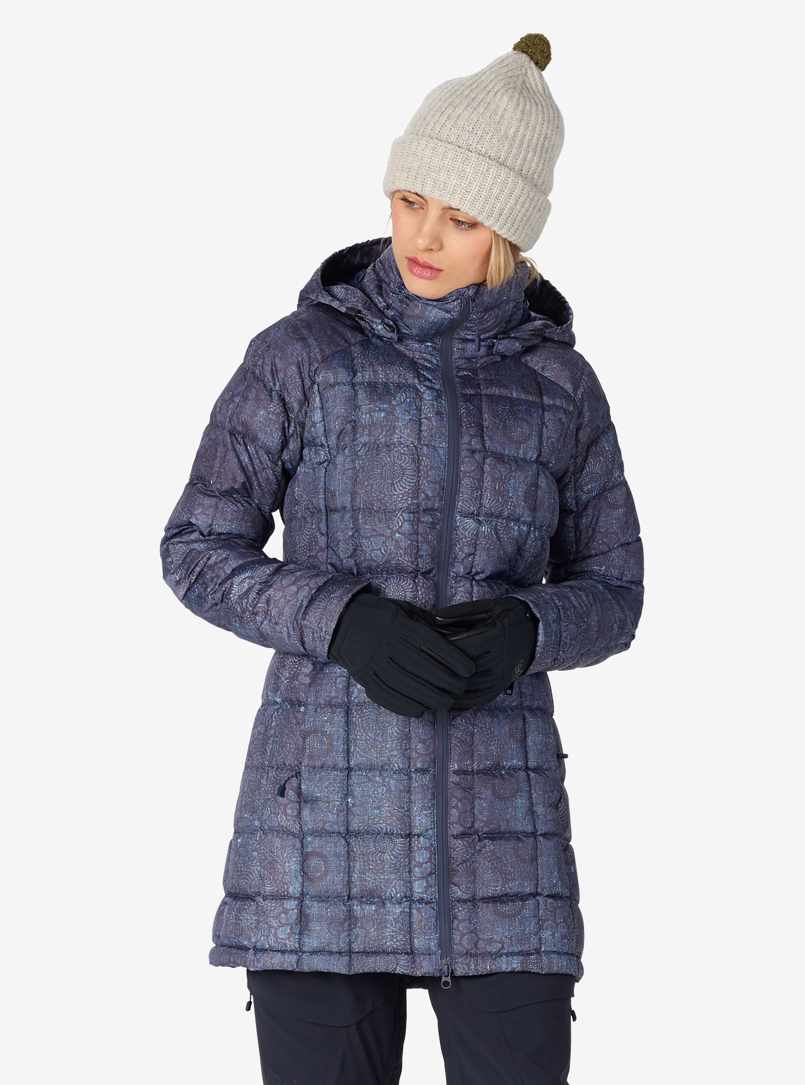 Women's Burton [ak] Long Baker Down Insulator Jacket shown in Indigo Floral