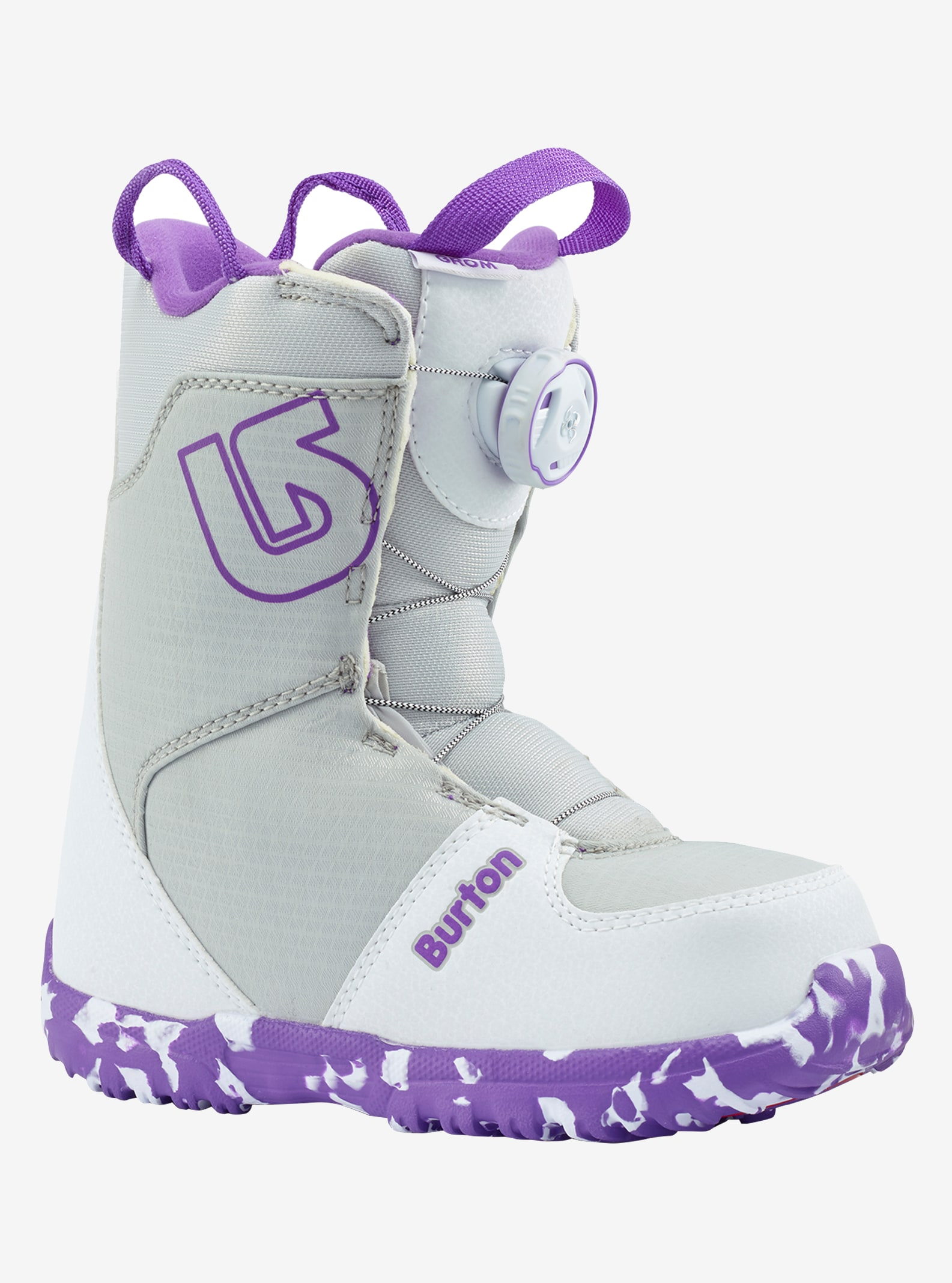Kids' Burton Grom Boa® Snowboard Boot shown in White / Purple