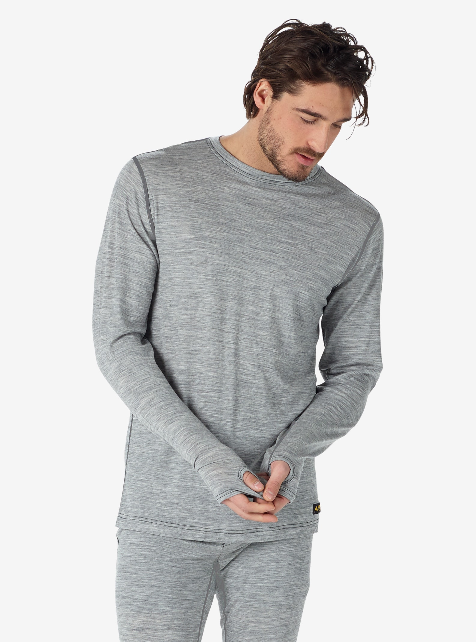Men's Burton Midweight Base Layer Merino Crew shown in Monument Heather