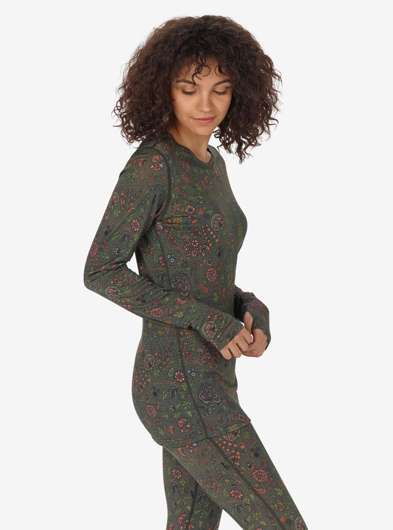 Women's Burton Base Layer Midweight Merino Crew shown in Garden Print
