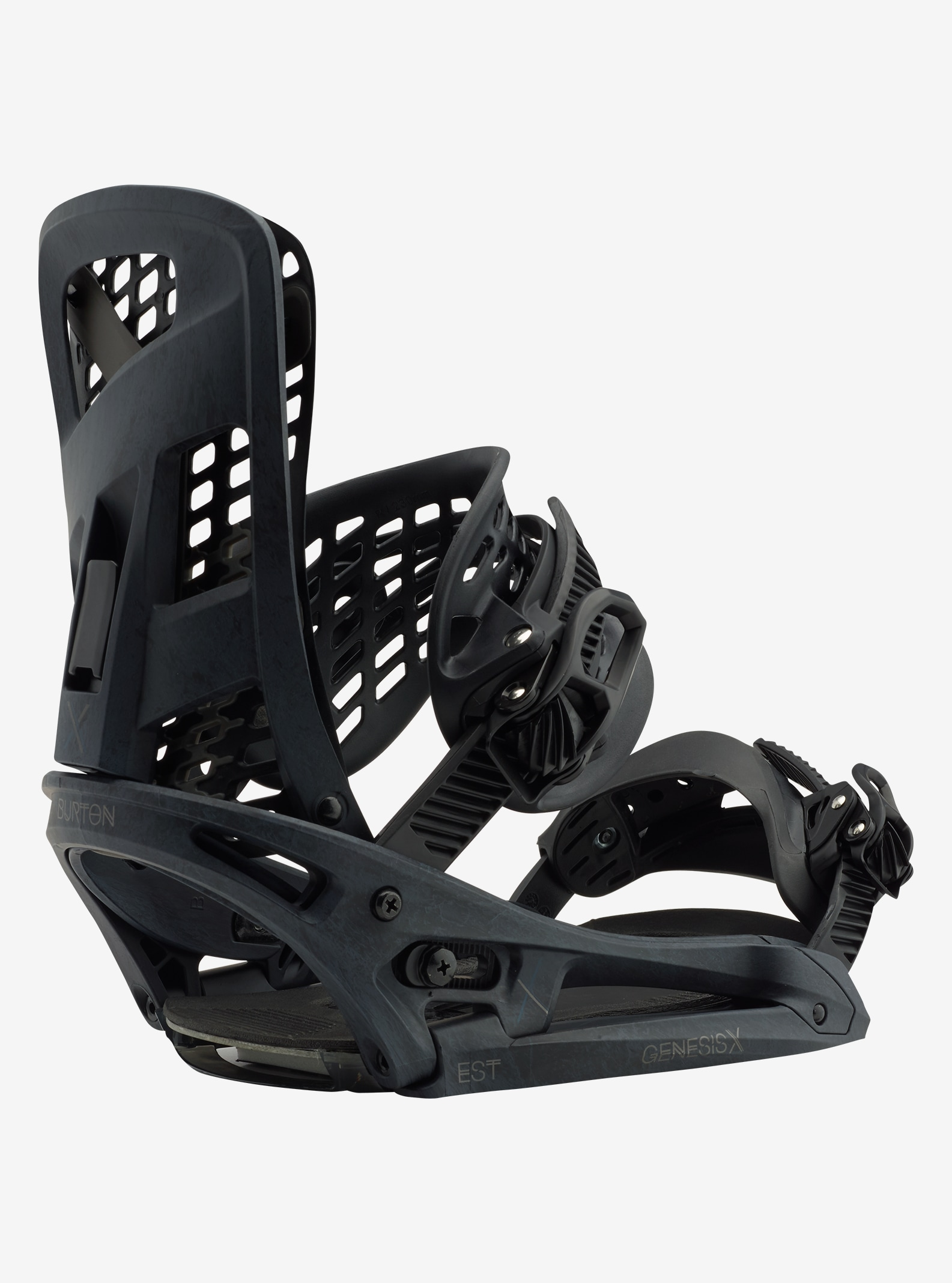 Men's Burton Genesis X EST Snowboard Binding shown in Black Marble