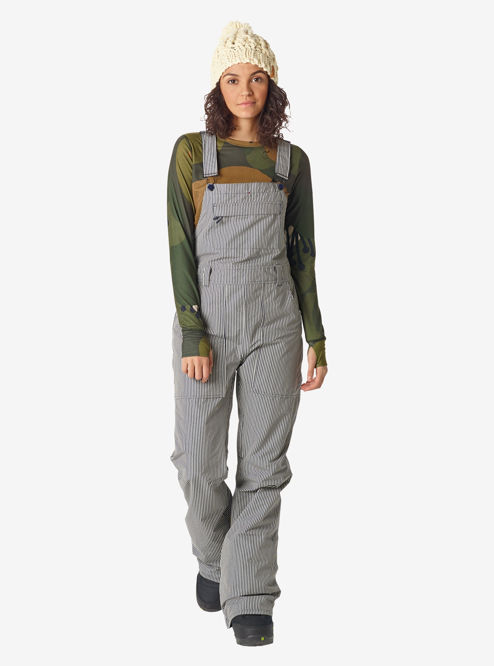 Women's Burton Avalon Bib Pant shown in Choo Choo Stripe