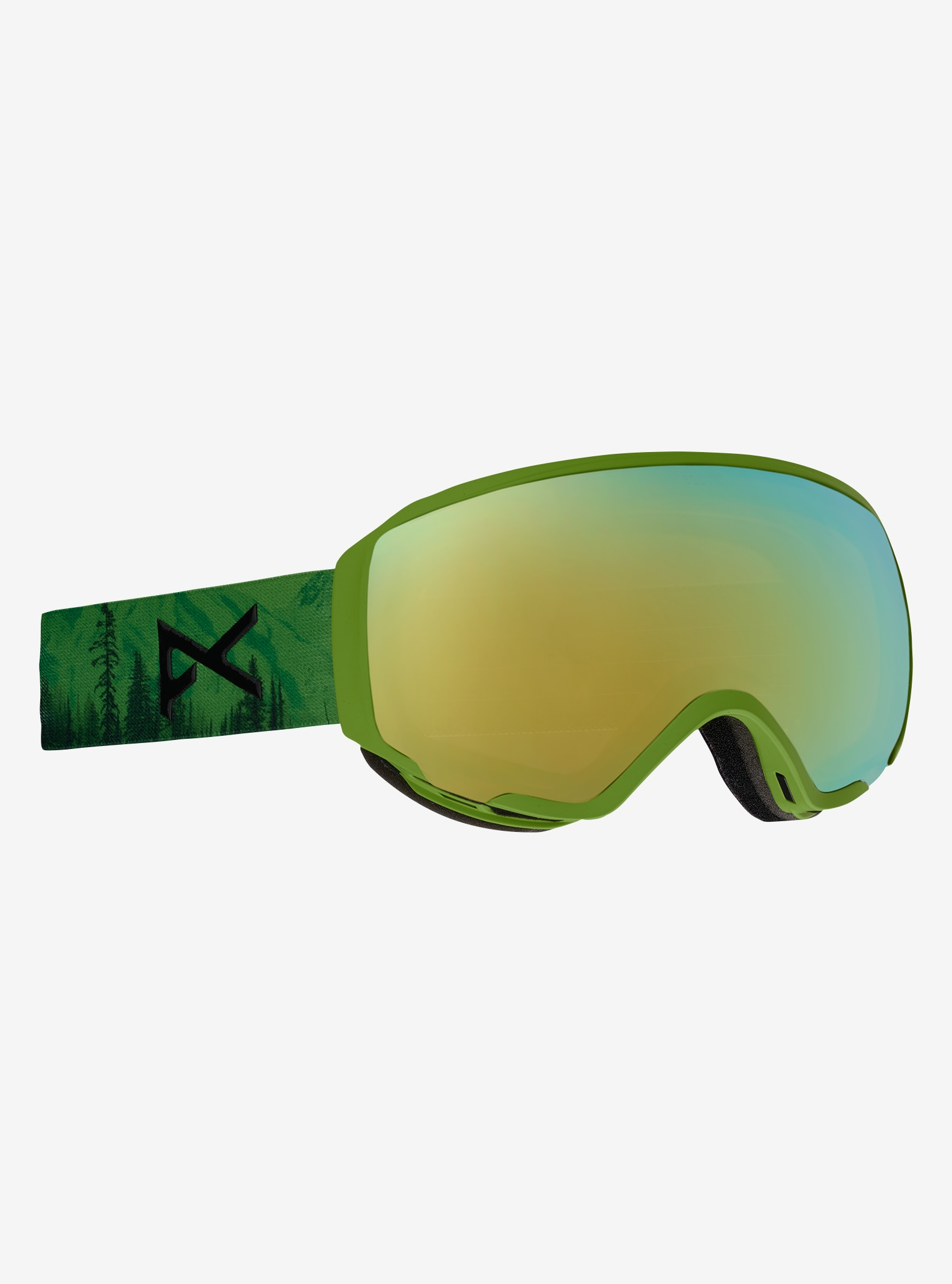 Women's Anon WM1 Goggle shown in Frame: Mother Nature, Lens: Gold Chrome, Spare: Blue Lagoon