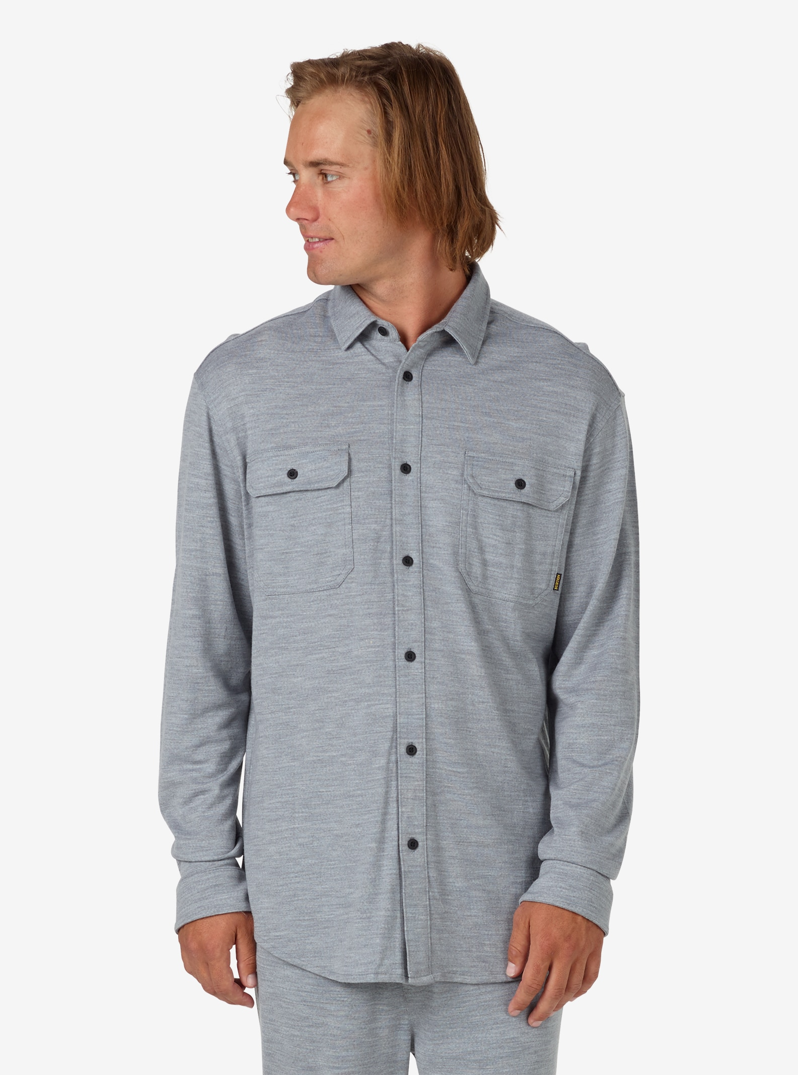 Men's Burton Midweight Merino Button Up shown in Monument Heather