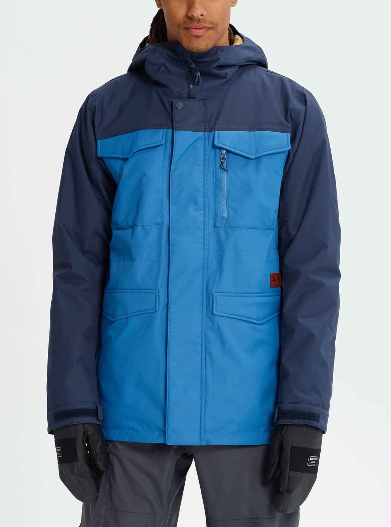 Mens Snowboard Jackets Burton Snowboards Jake Fleece Combie Blue Grey